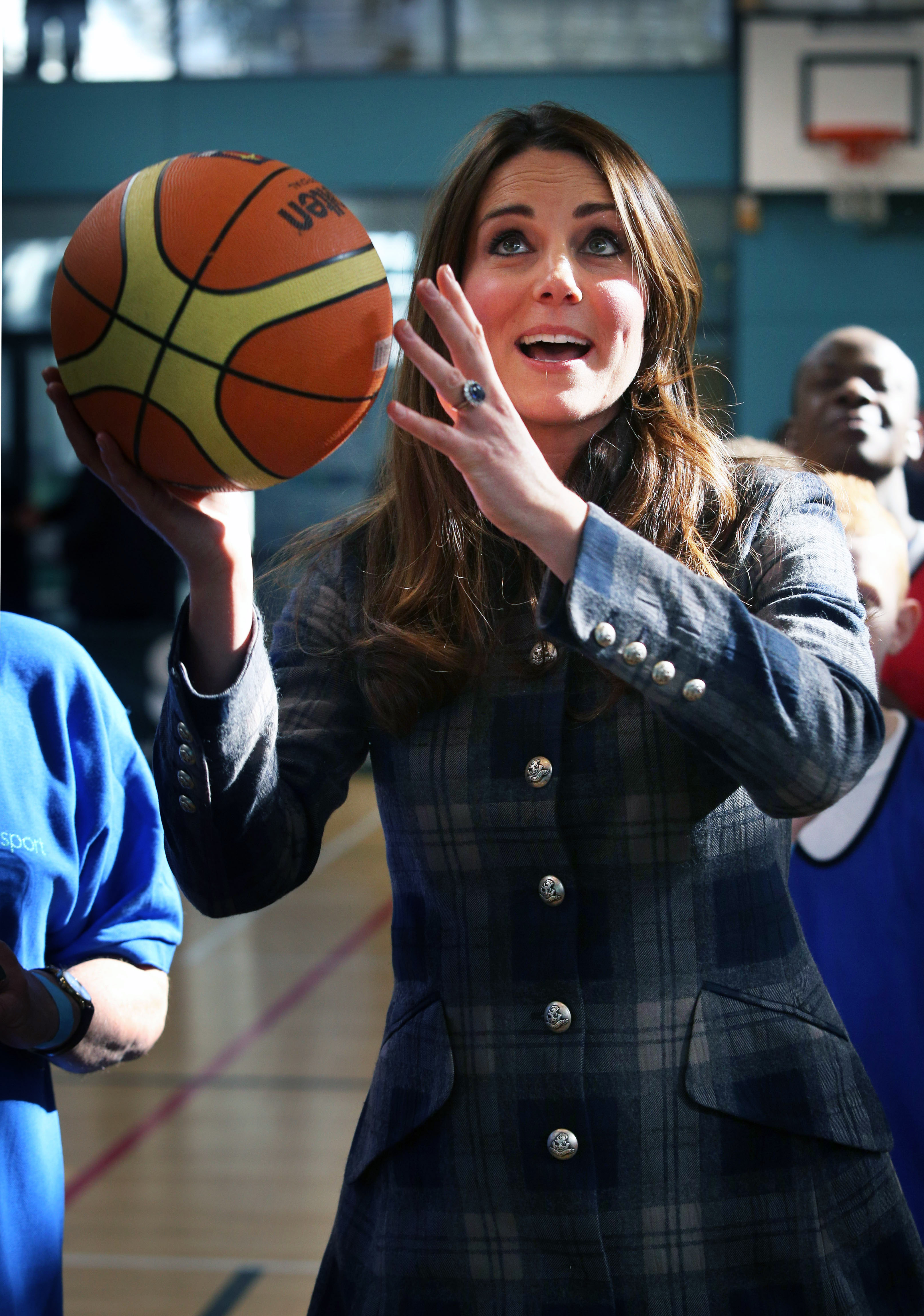 Catherine, the Duchess of Cambridge is shooting a basketball in Glasgow, Scotland, UK. No, I did not speak to the Duchess.