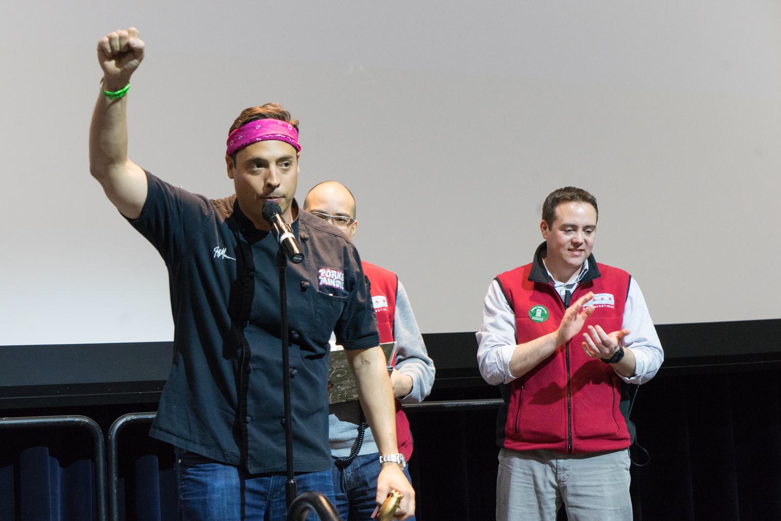 Jeff Mauro celebrates at Baconfest