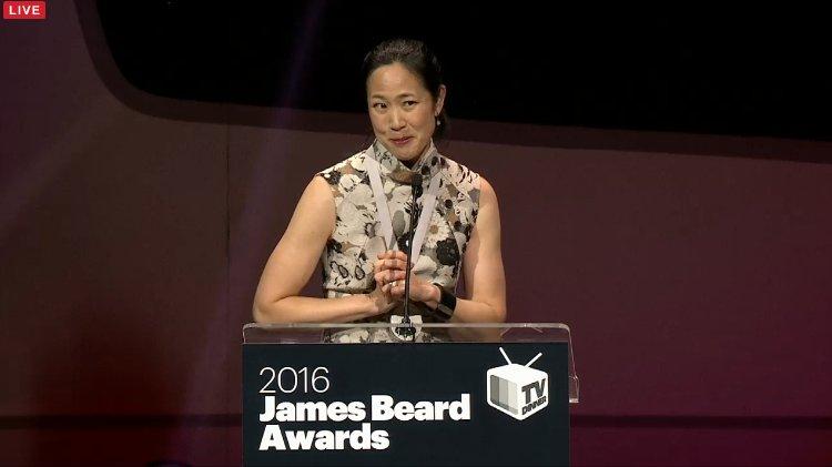 Joanne Chang accepting her James Beard Award