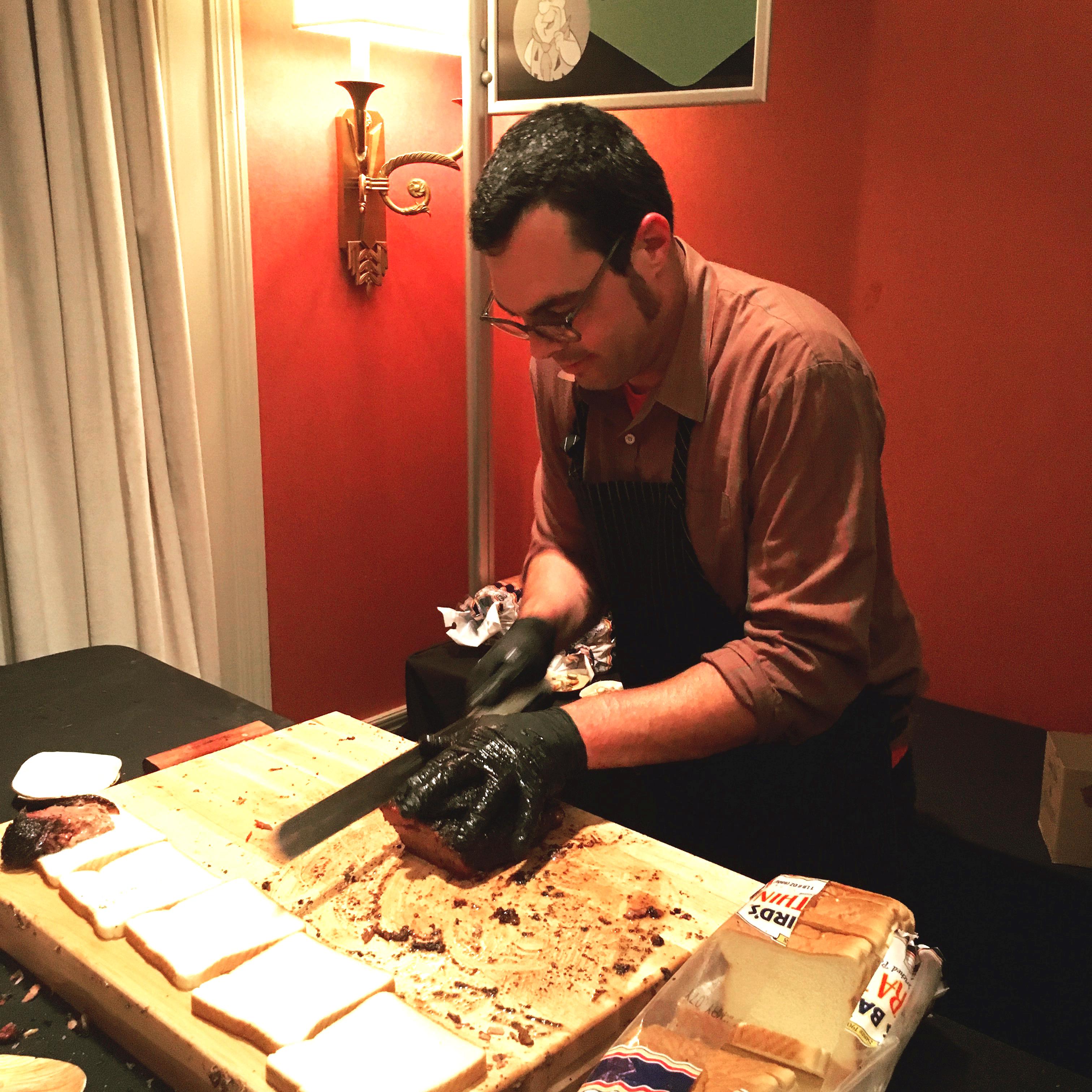 Aaron Franklin slicing up that brisket