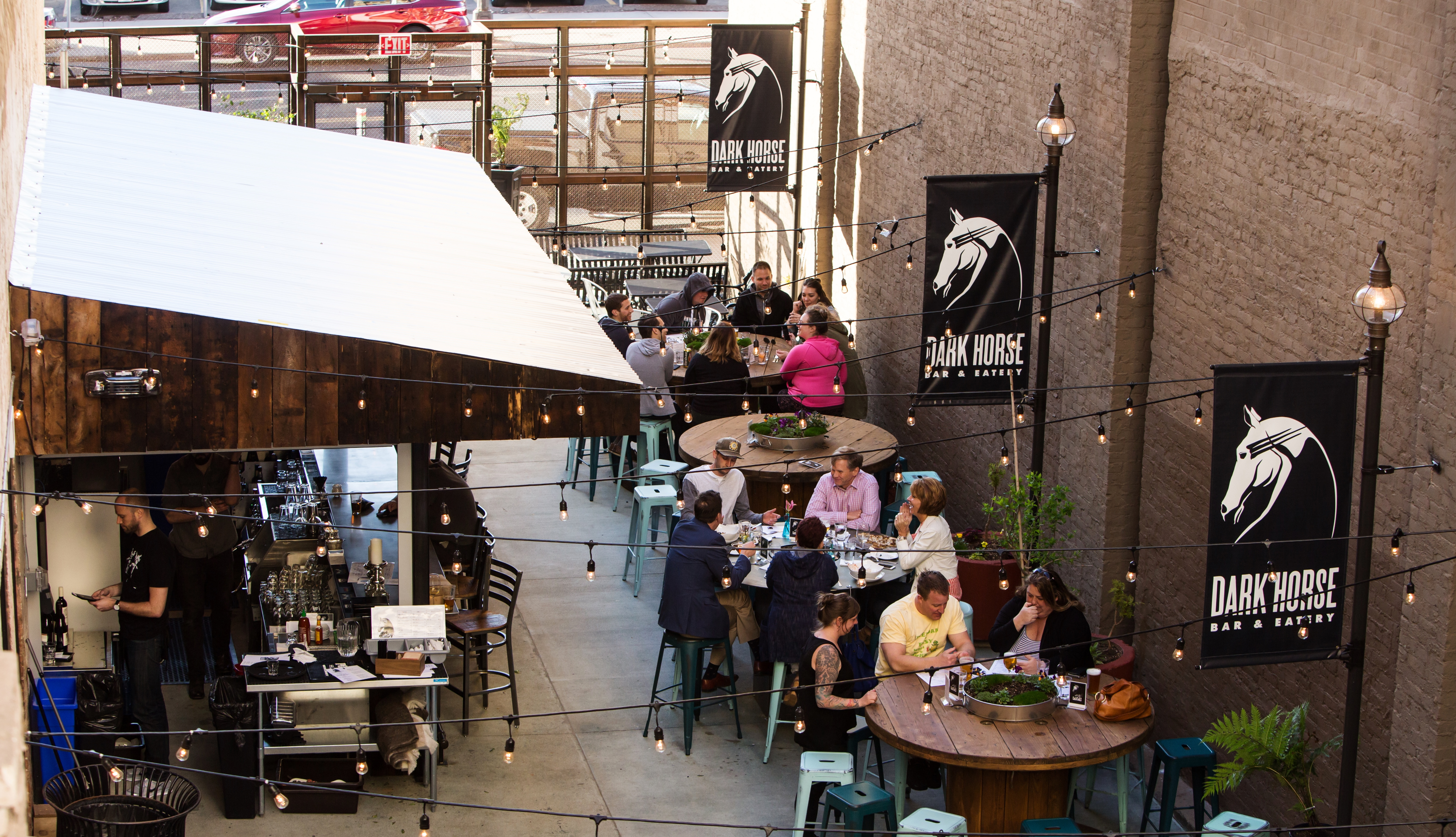 The patio is open.