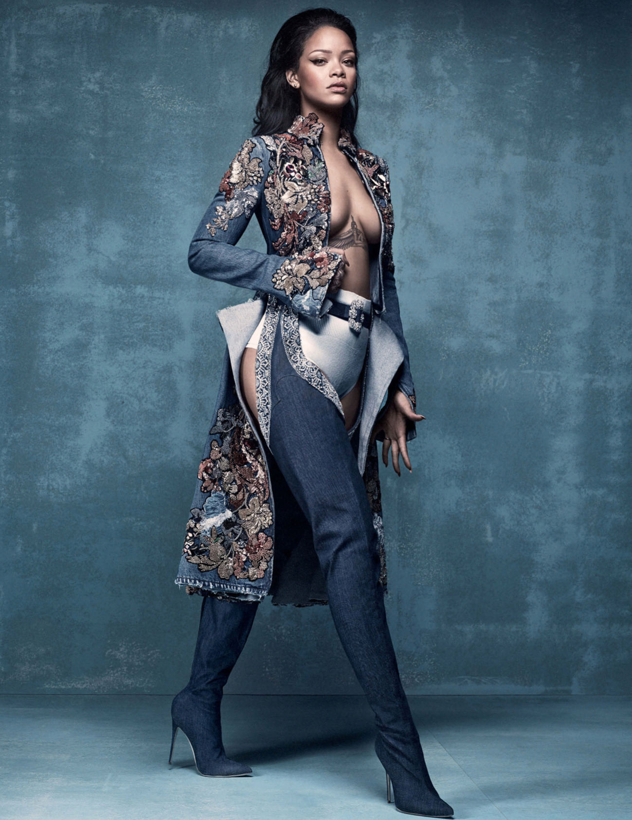 """Rihanna in the """"9 to 5"""" boots from her latest collab with Manolo Blahnik."""