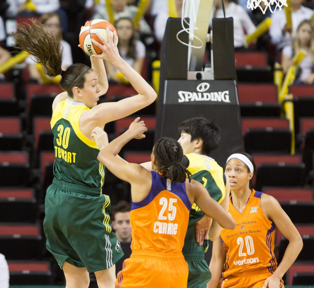 Breanna Stewart pulls down the rebound against Phoenix.