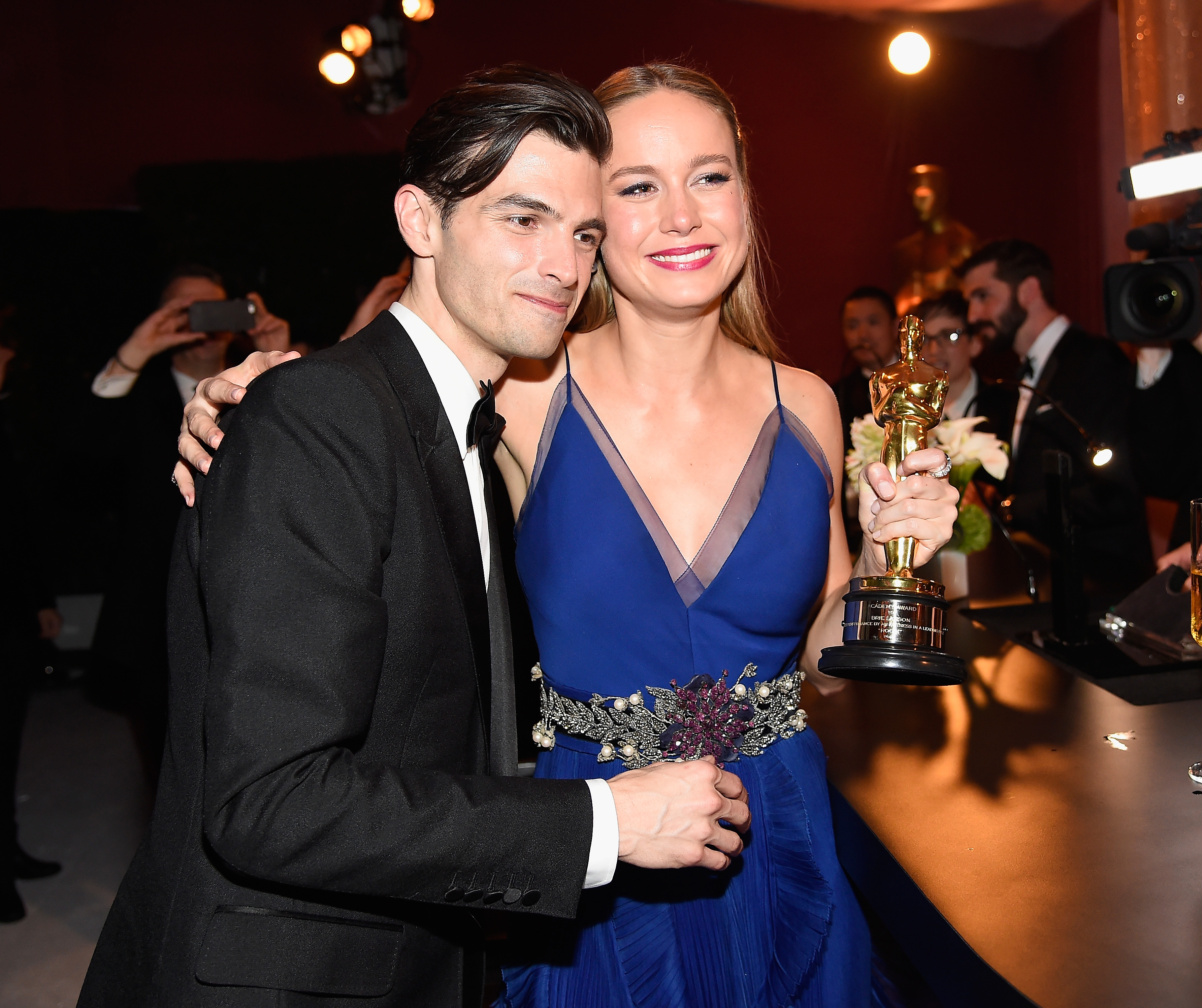 Brie Larson and Alex Greenwald at this year's Oscars.