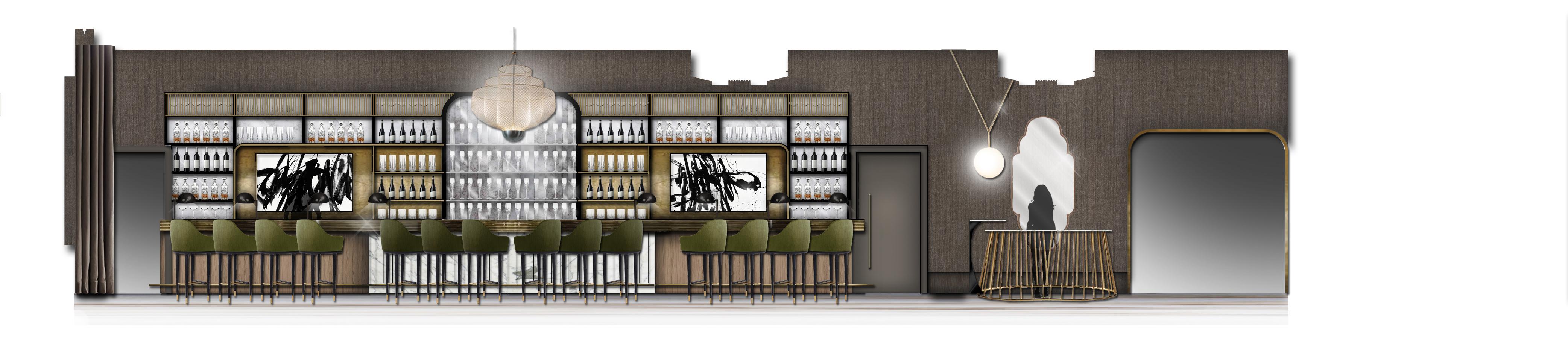 A rendering of the bar at Circa at The Gwen