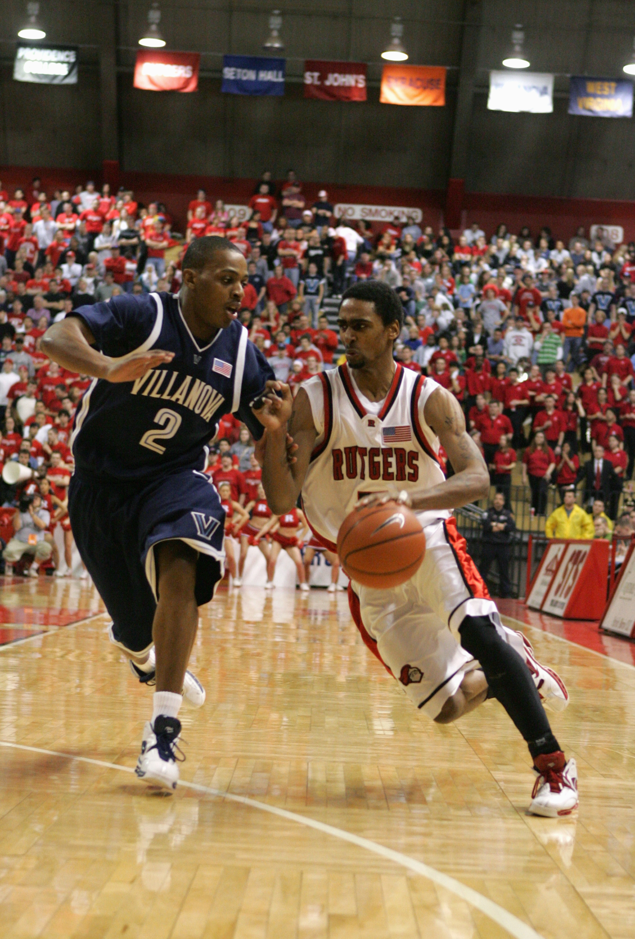 Quincy Douby drives past Big East Player of the Year Randy Foye.