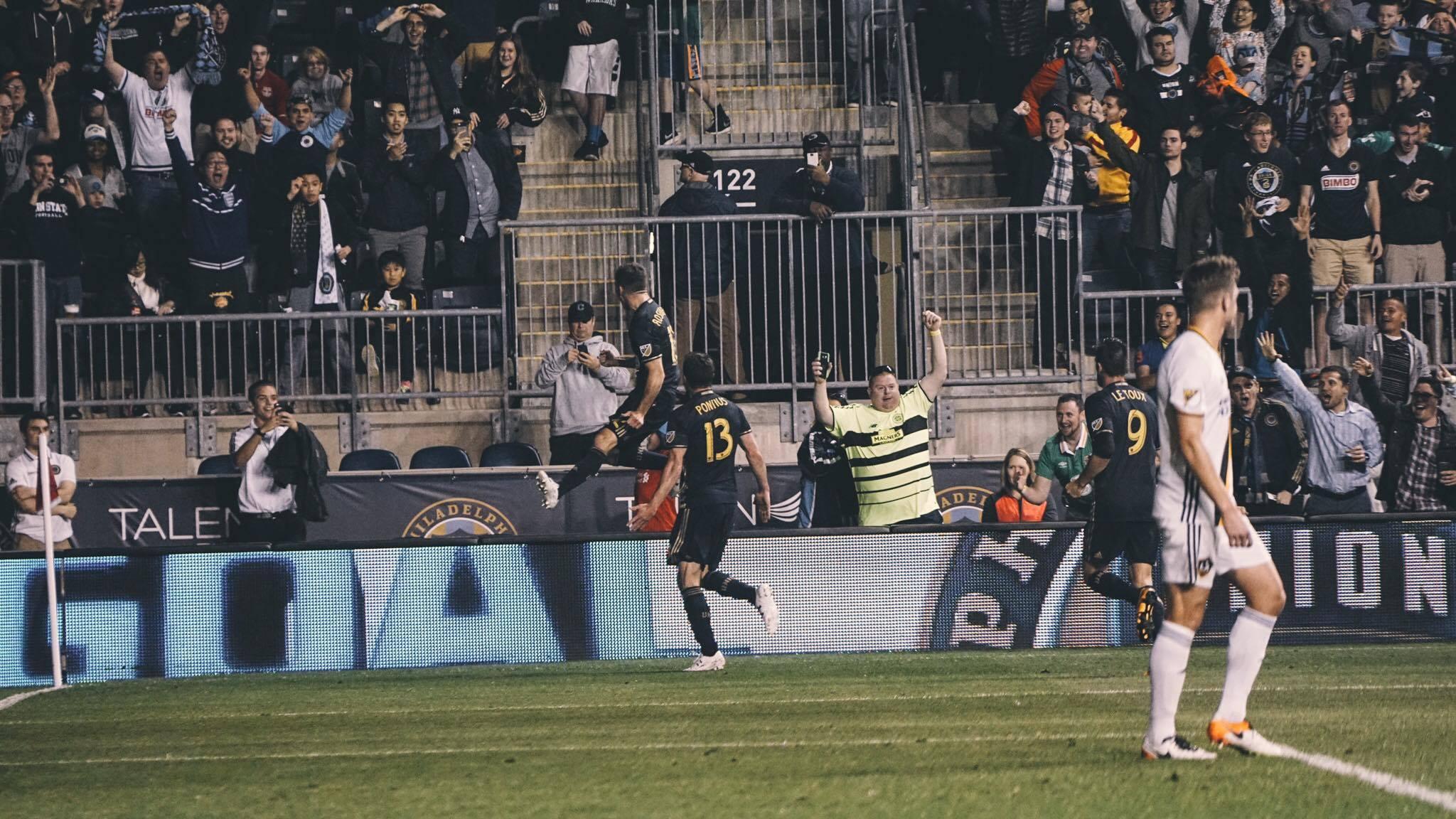 Keegan Rosenberry of the Philadelphia Union celebrates his first MLS goal against the LA Galaxy.