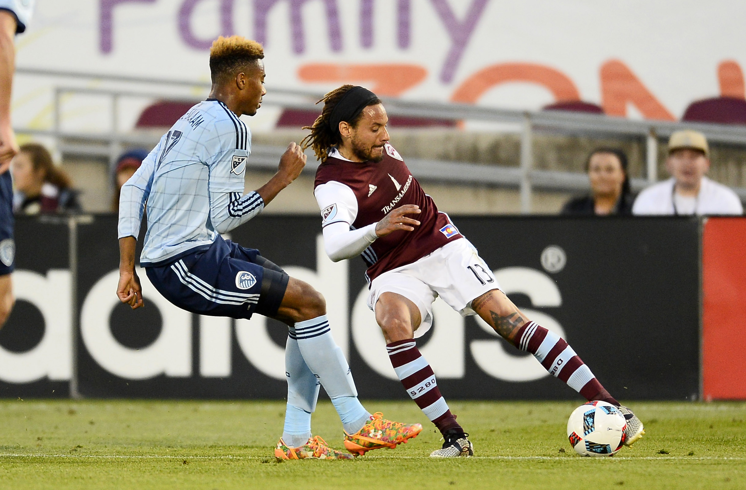Rapids Jermaine Jones tries to get the ball past Saad Abdul-Salaam