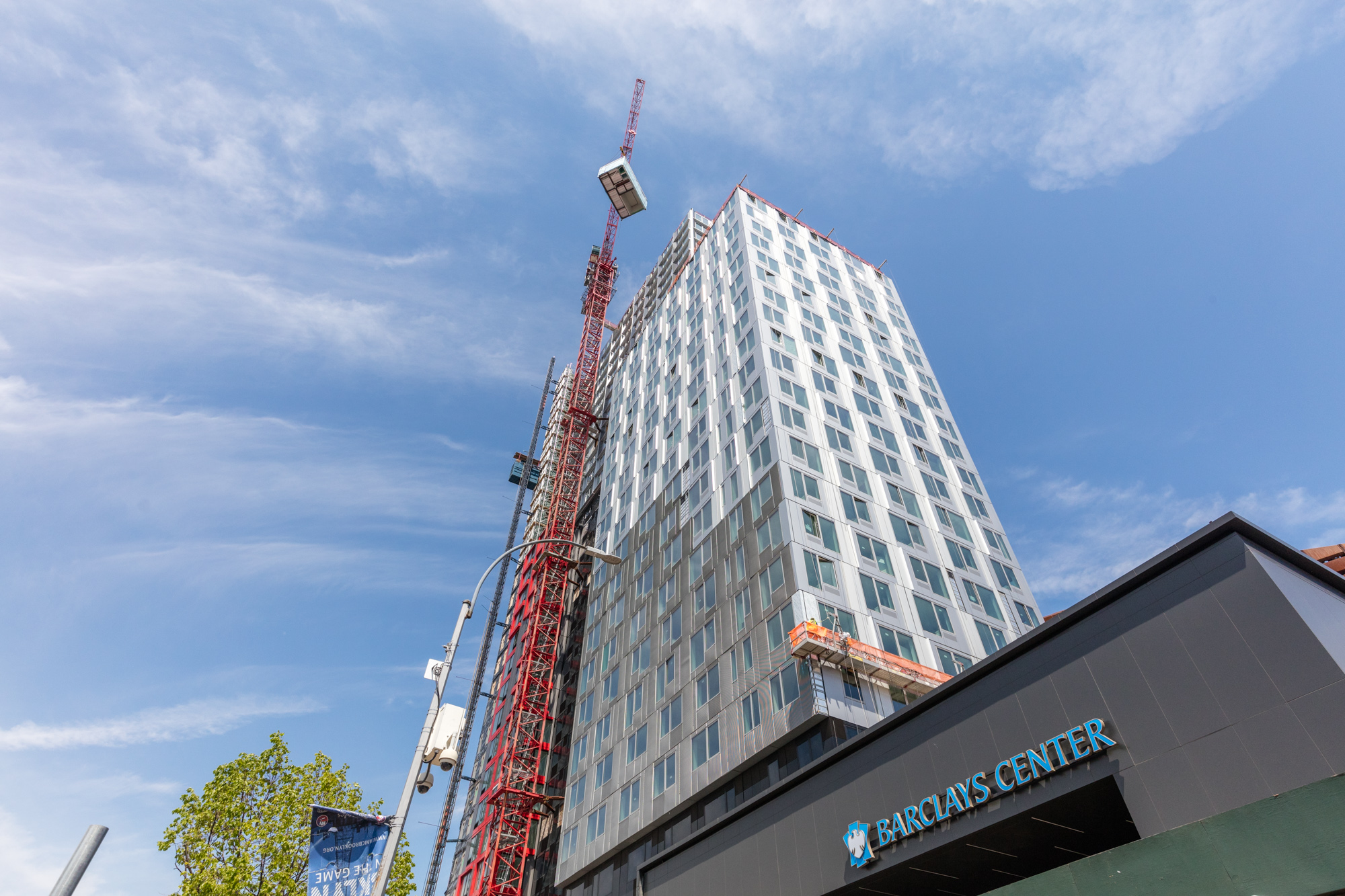 The final modular unit is put into place at 461 Dean Street
