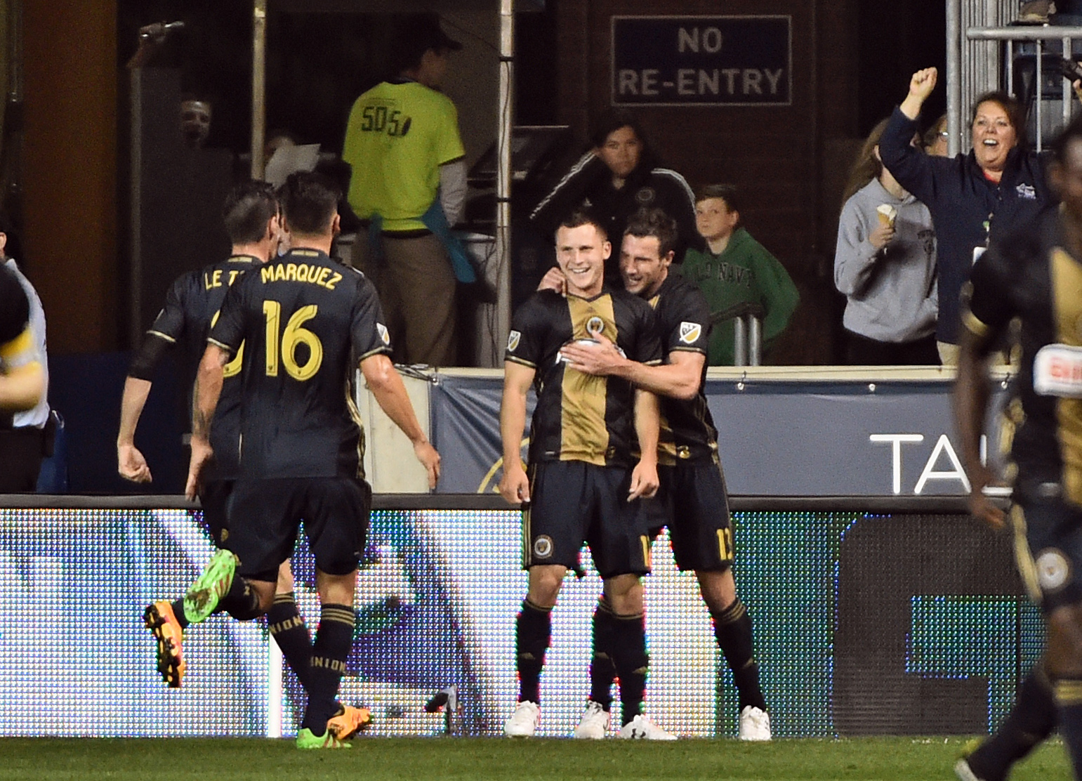 Rosenberry celebrates his first career MLS goal on Wednesday night against the LA Galaxy.