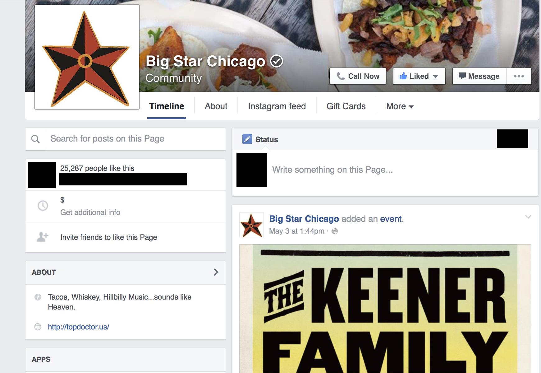 Big Star's Facebook page