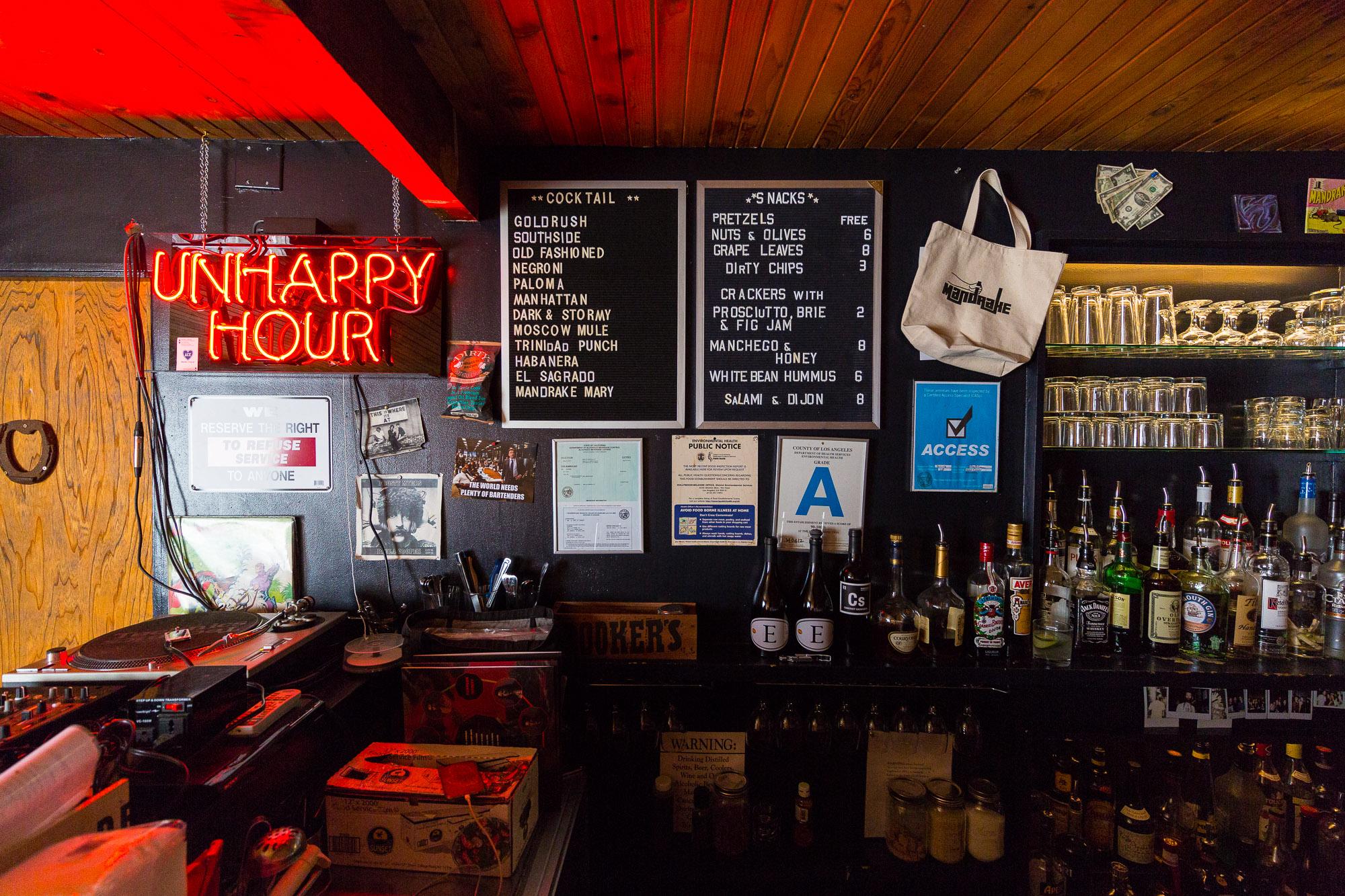 Inside Los Angeles' Mandrake Bar.