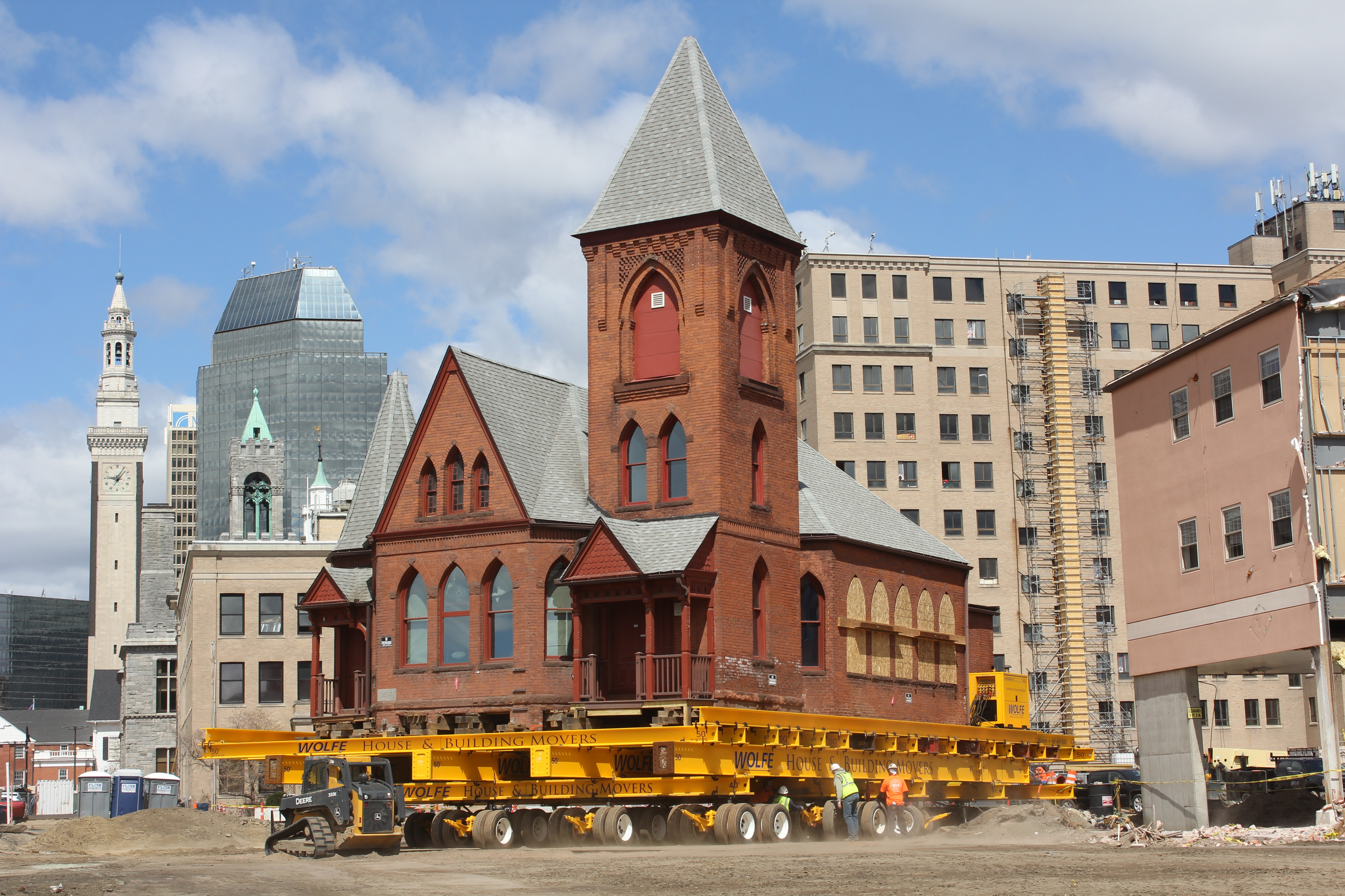 This church was moved in Springfield, MA to make way for new development.