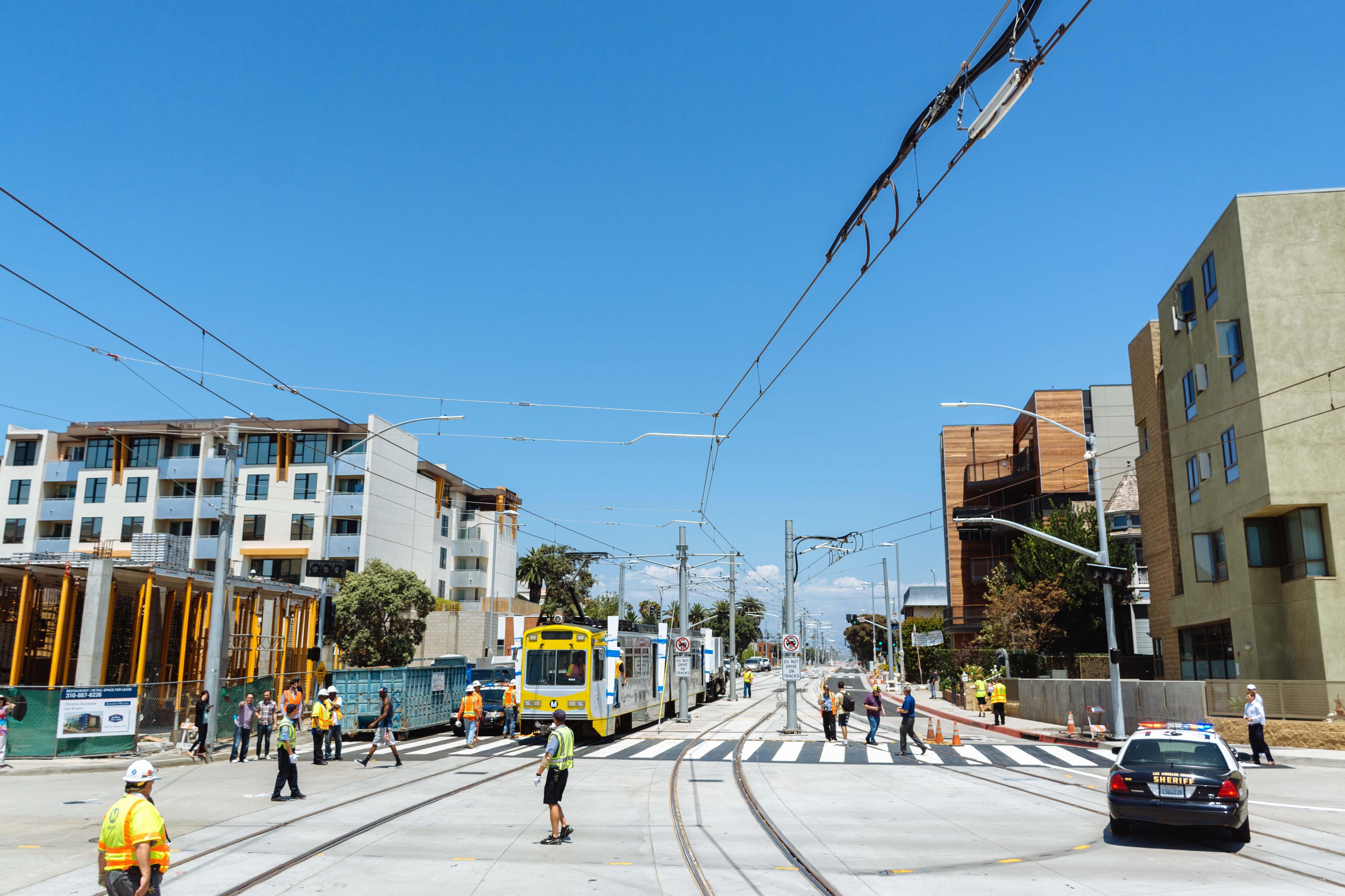 Expo Line extension train testing in Santa Monica.