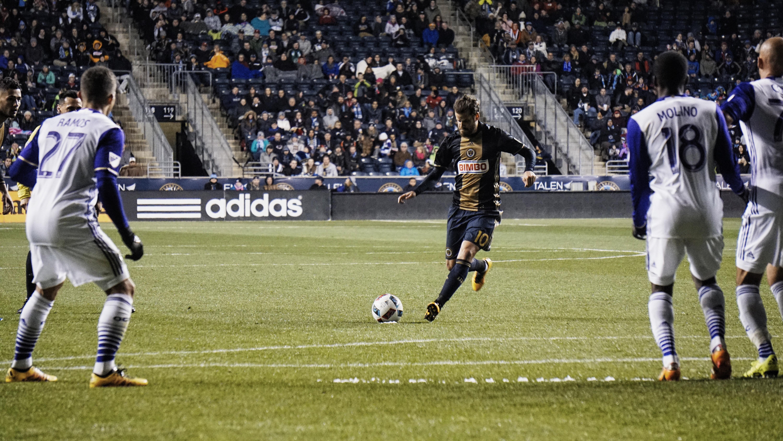 The Philadelphia Union's Tranquillo Barnetta hits a free kick against Orlando City SC at Talen Energy Stadium.