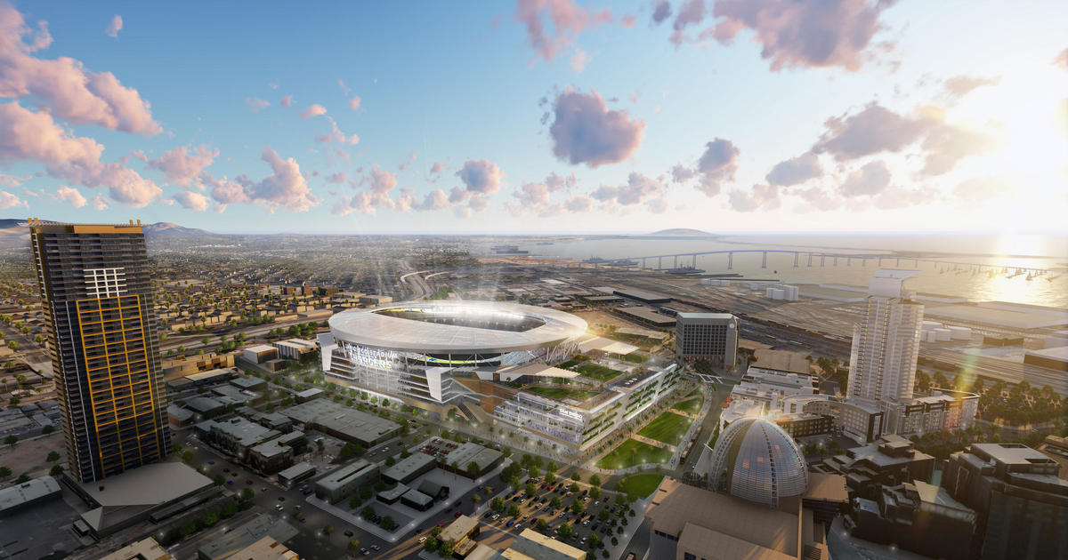 A rendering of the Chargers' proposed joint-use facility downtown