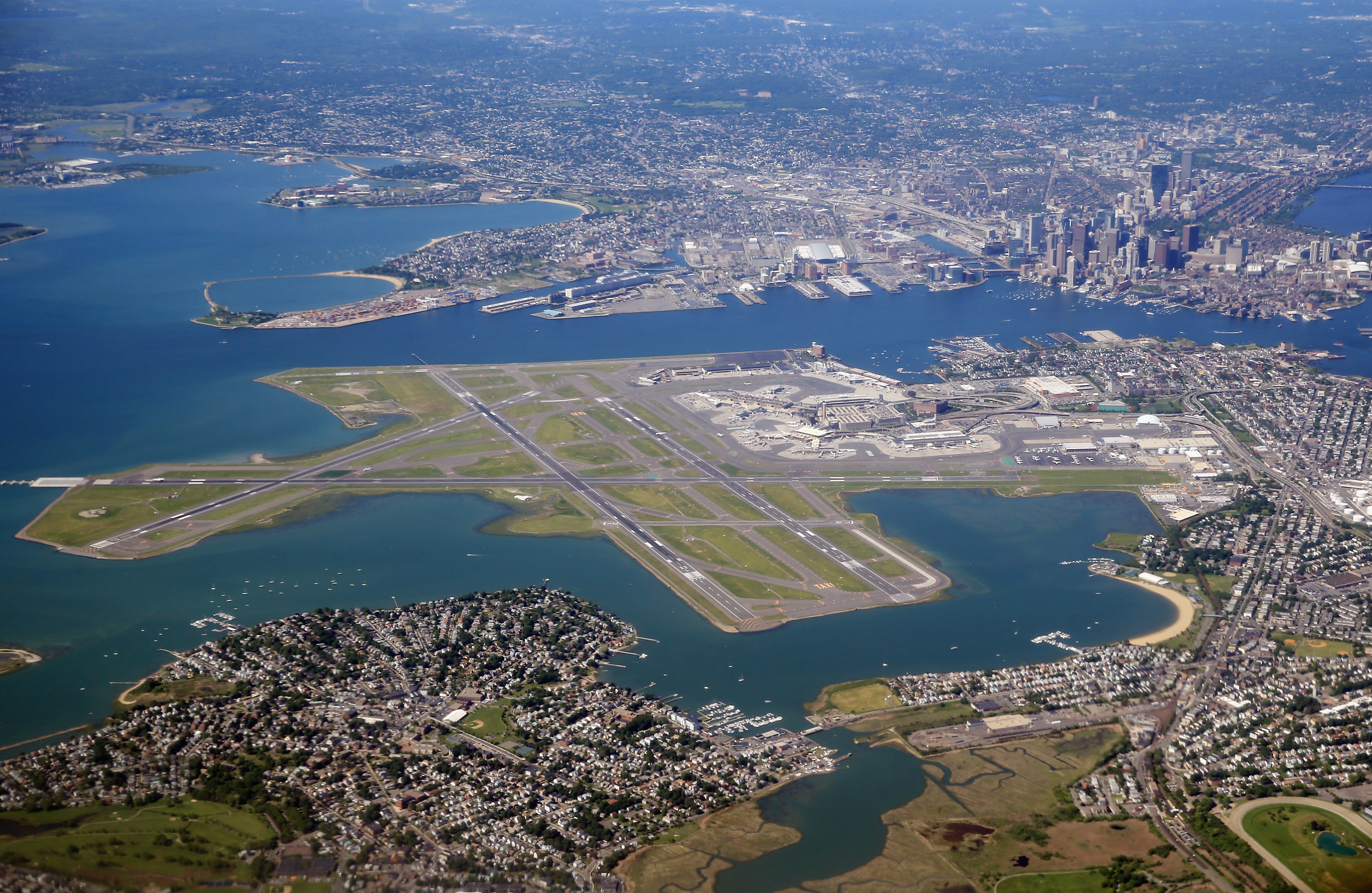 An aerial view of Logan Airport and the greater Boston area as photographed on June 4, 2013