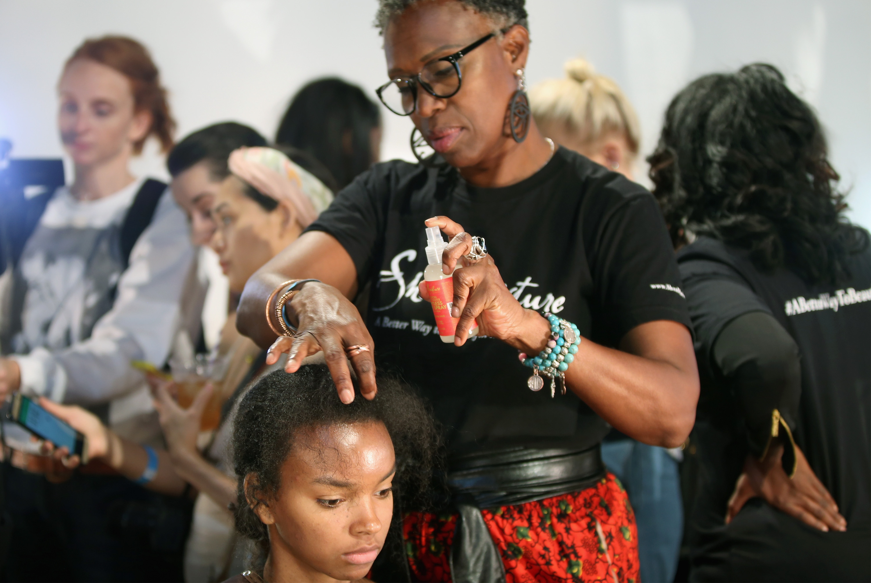 Backstage at the 2016 spring/summer Tracy Reese show. Photo: Bennett Raglin/ Getty Images
