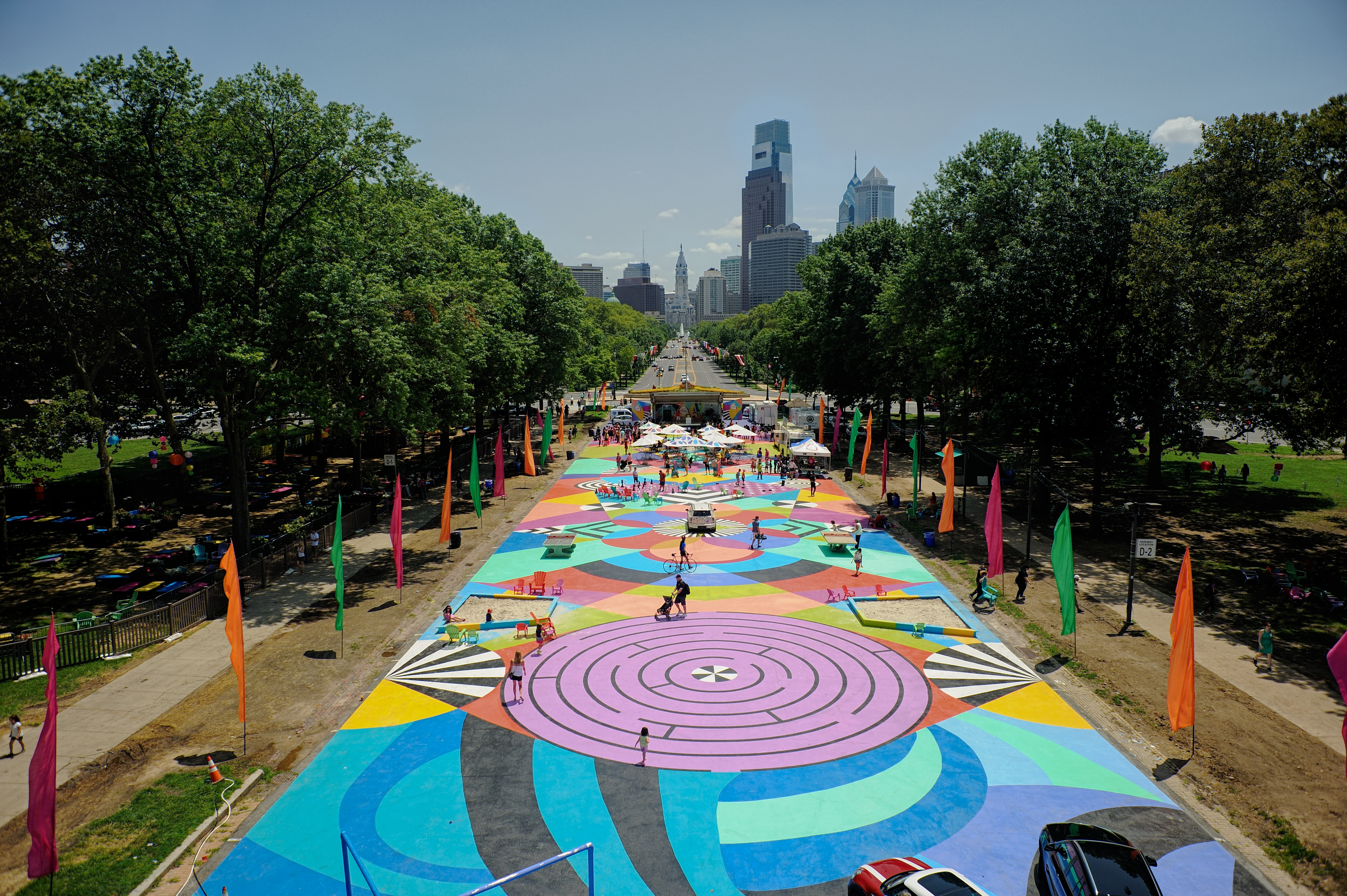 An aerial view of the Oval pop-up park in Philadelphia in 2016.