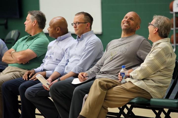 Dave Babcock, Billy McKinney, Justin Zanik, Jason Kidd and John Hammond take in the Bucks' draft workouts on Wednesday