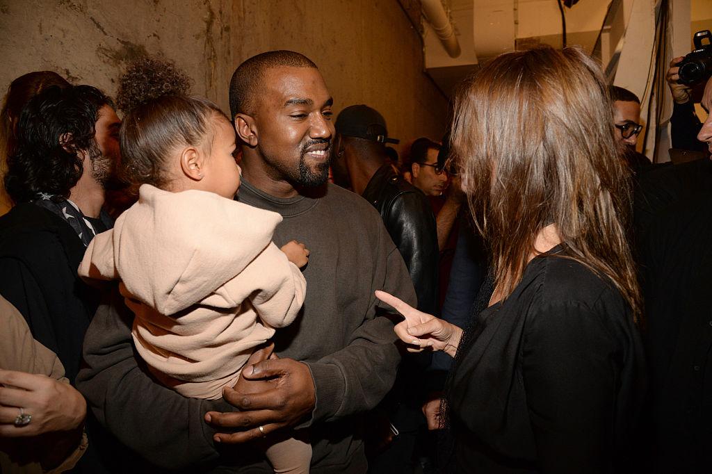 Kanye backstage at the Yeezy Season 2 presentation in September 2015.