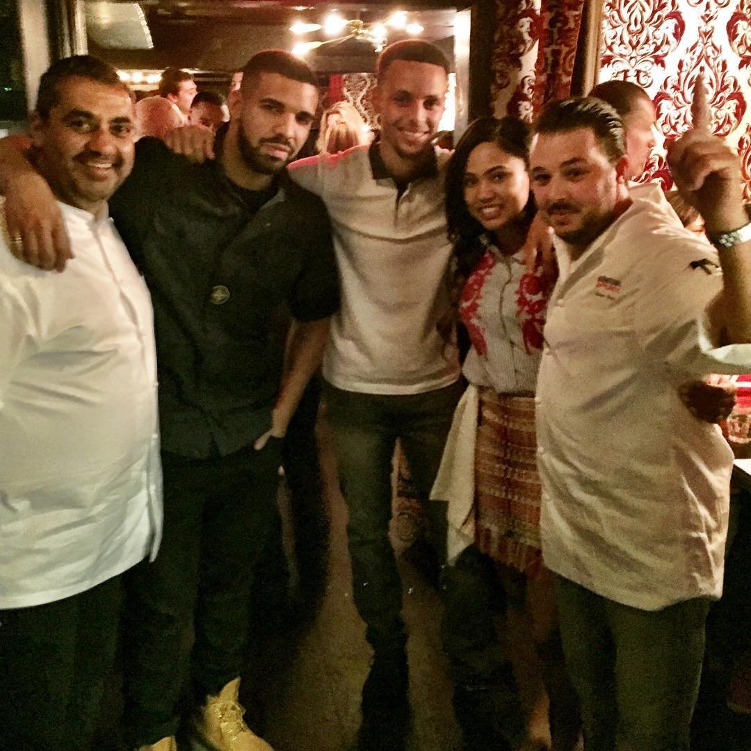 From left to right: Michael Mina, Drake, Steph Curry, Ayesha Curry, Adam Sobel