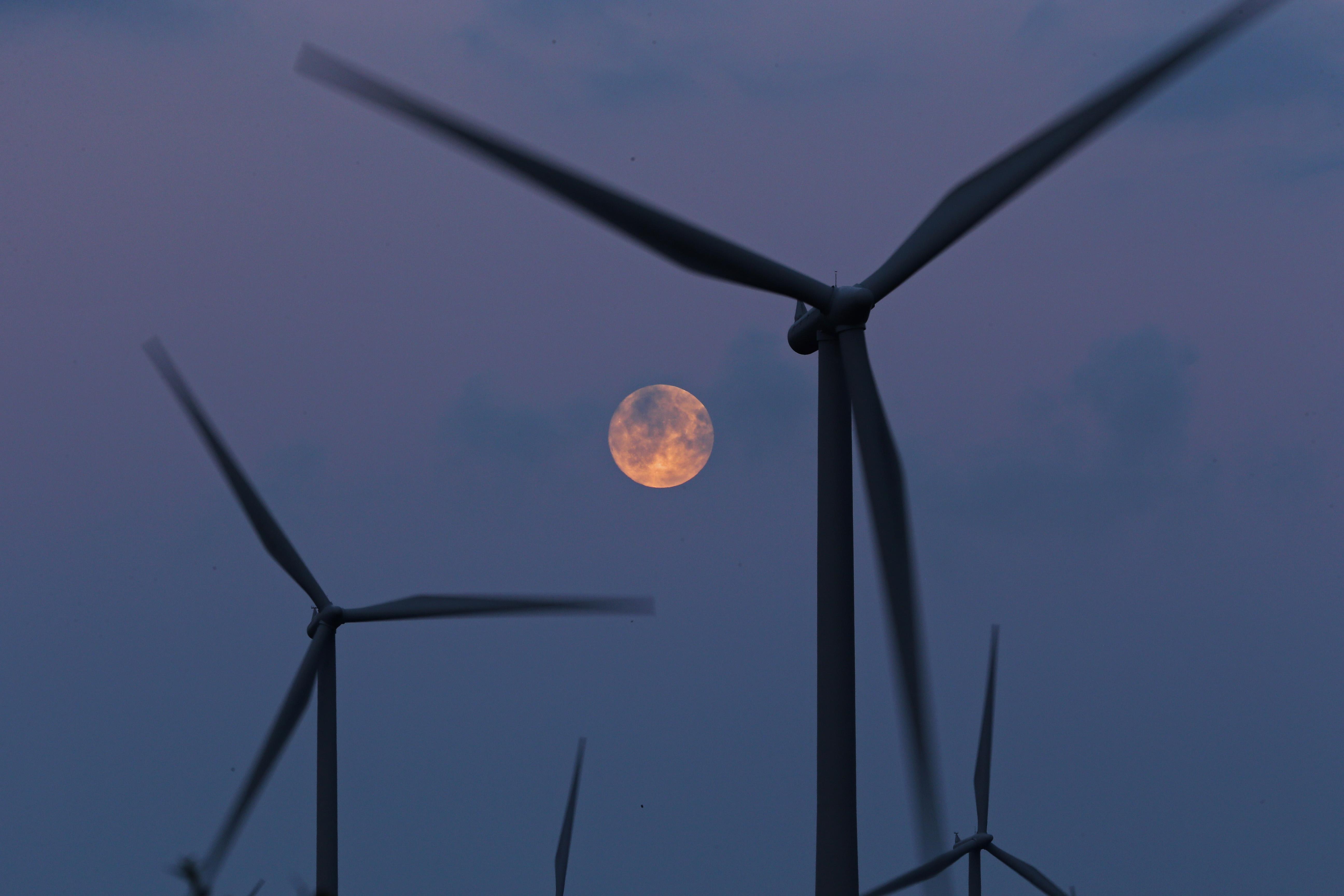 Moon Rises Over Whitelee Wind Farm
