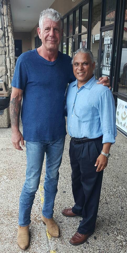 Bourdain and Udipi Cafe owner Sathish Rao