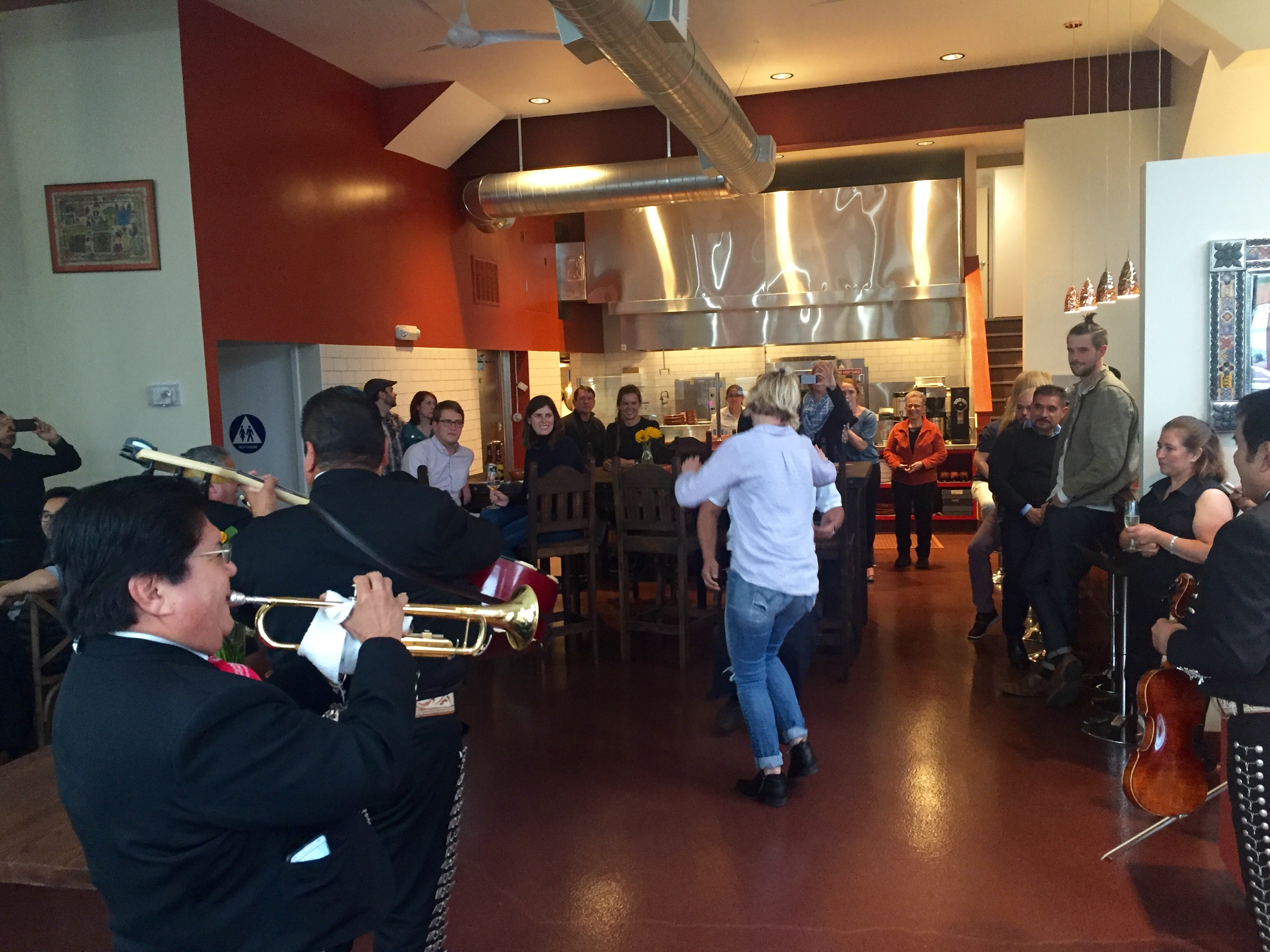 The pre-opening party included a mariachi band