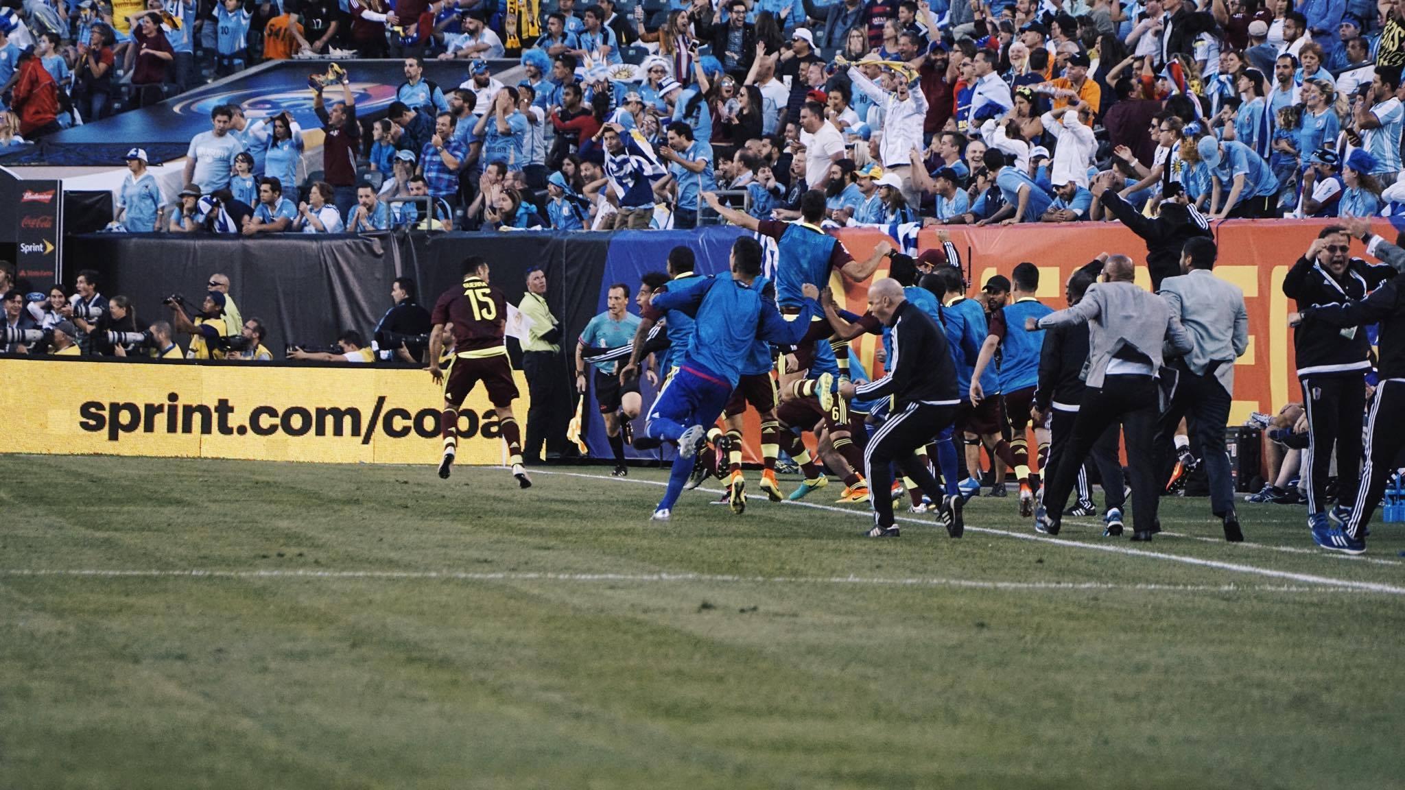 Venezuela reacts to a Jose Rondon goal scored in the first half of their Copa America match against Uruguay.Venezuela defeated Uruguay 1-0.