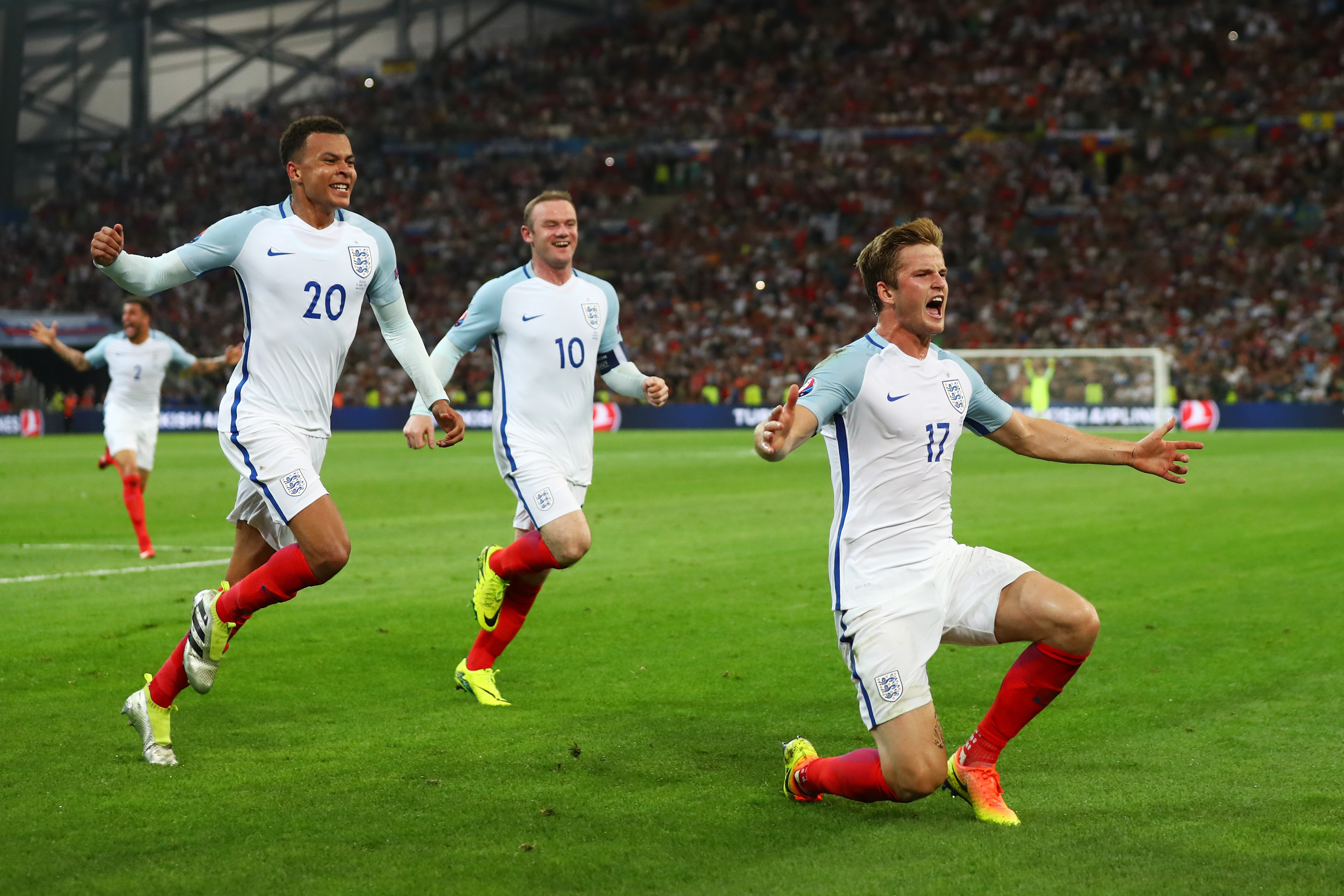 Eric Dier celebrates opening his England account in Euro 2016.