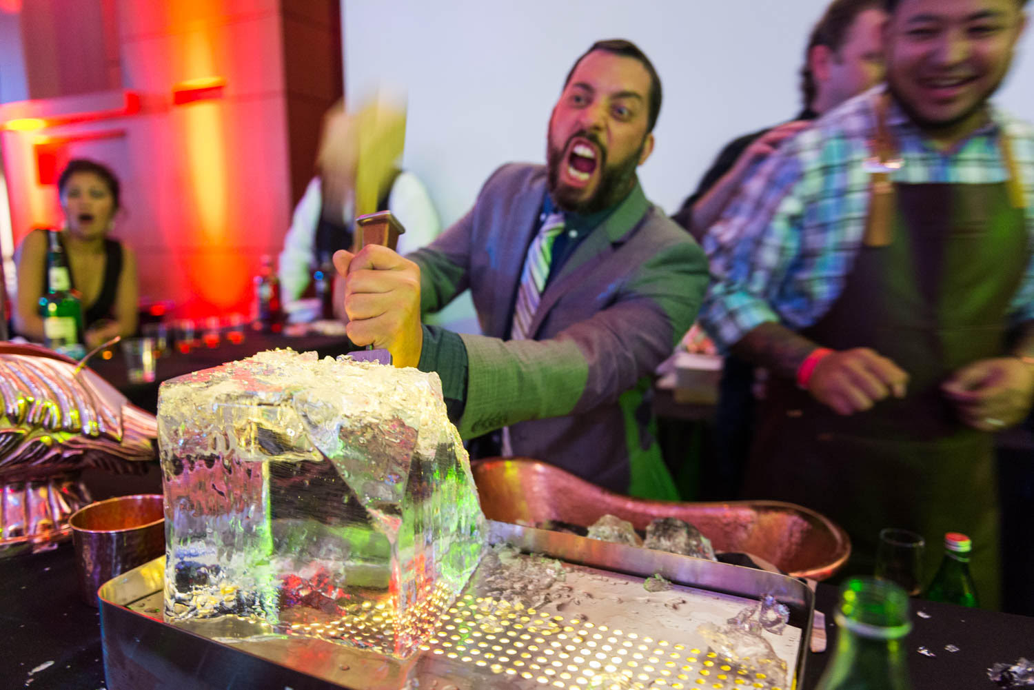 Ice chipping at work at the 2016 Rammy awards