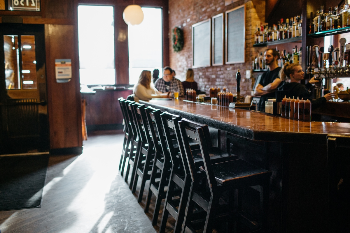The bar at Slows Bar-B-Q in Corktown.