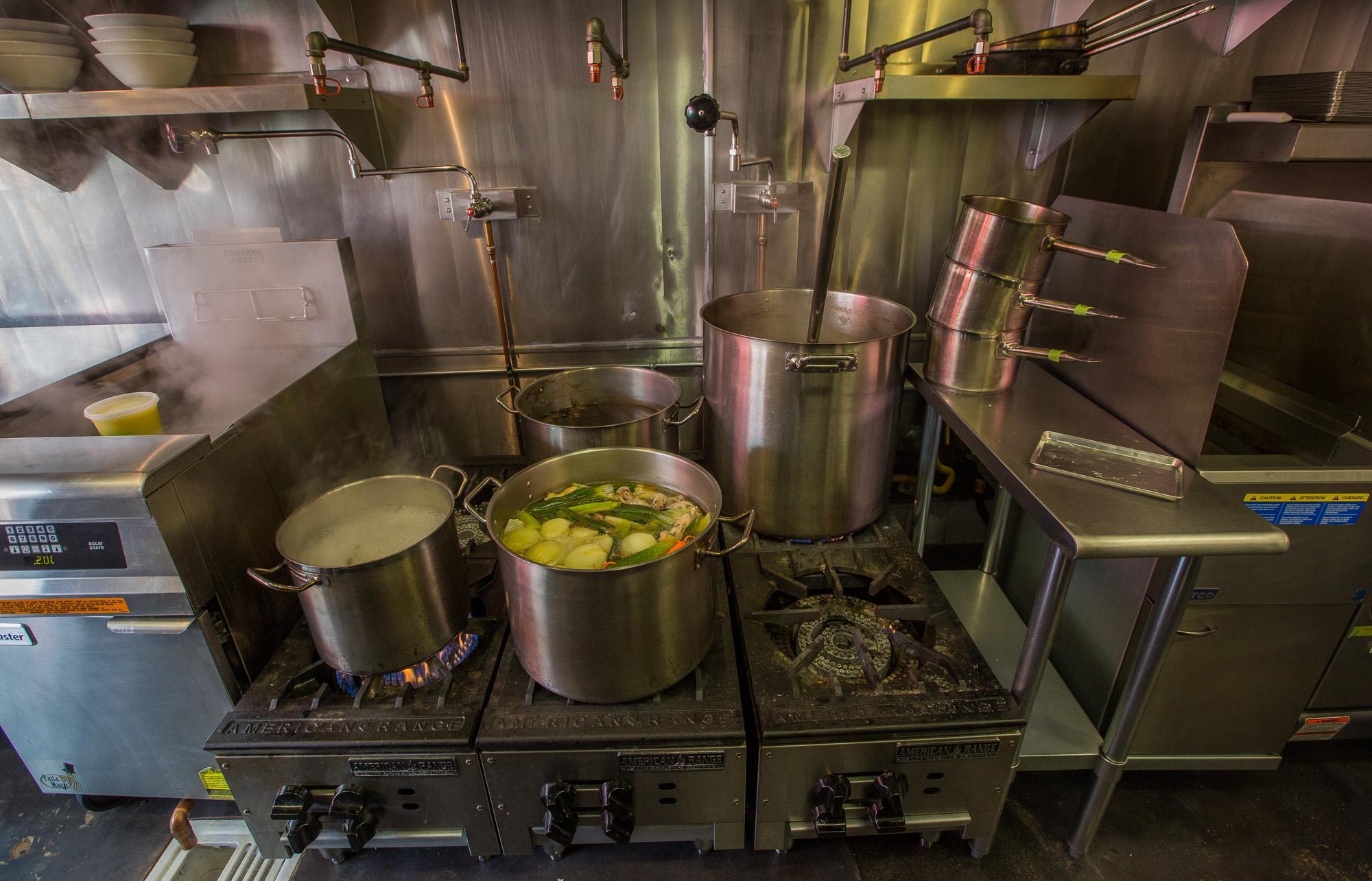 The stoves at Ramen Champ