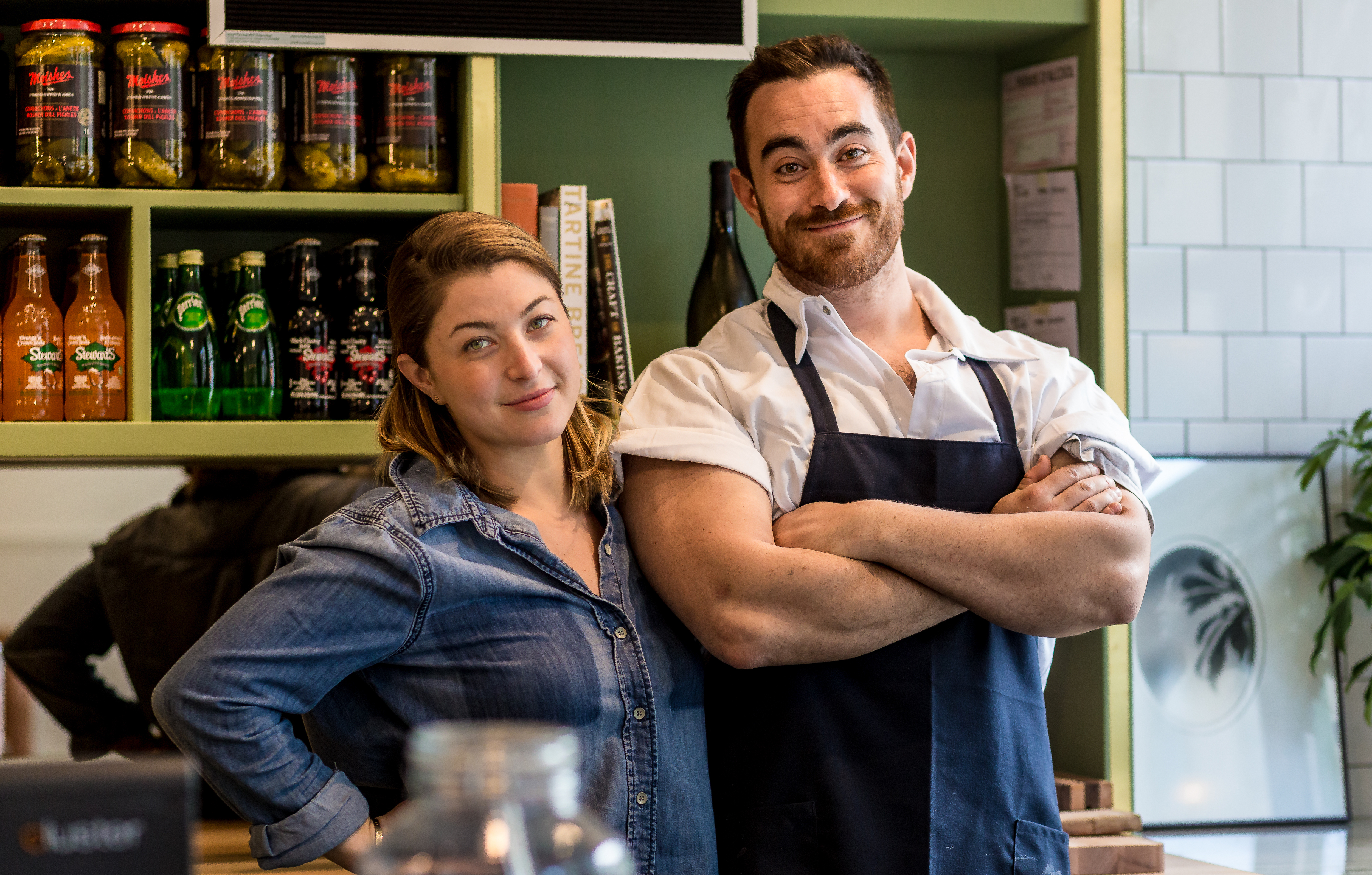 Raegan Steinberg and Alex Cohen inside their new restaurant, Arthurs