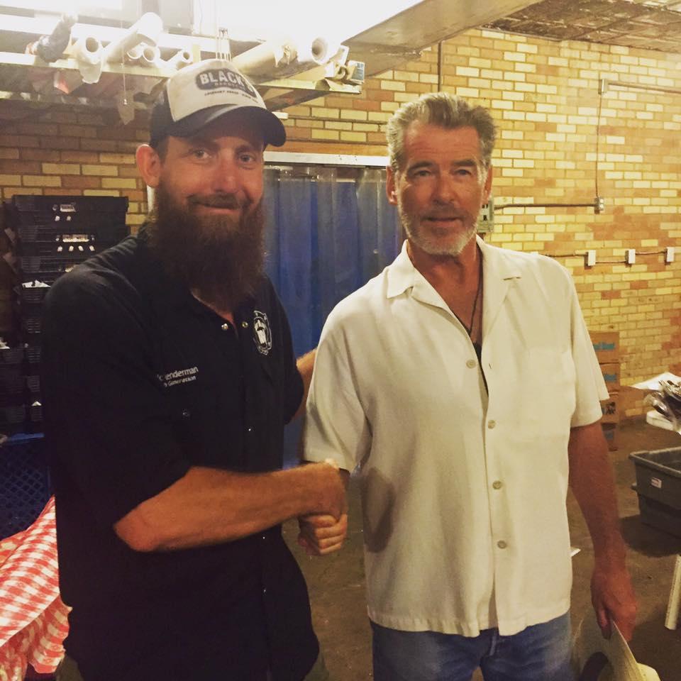 Pierce Brosnan at Black's Barbecue in Lockhart
