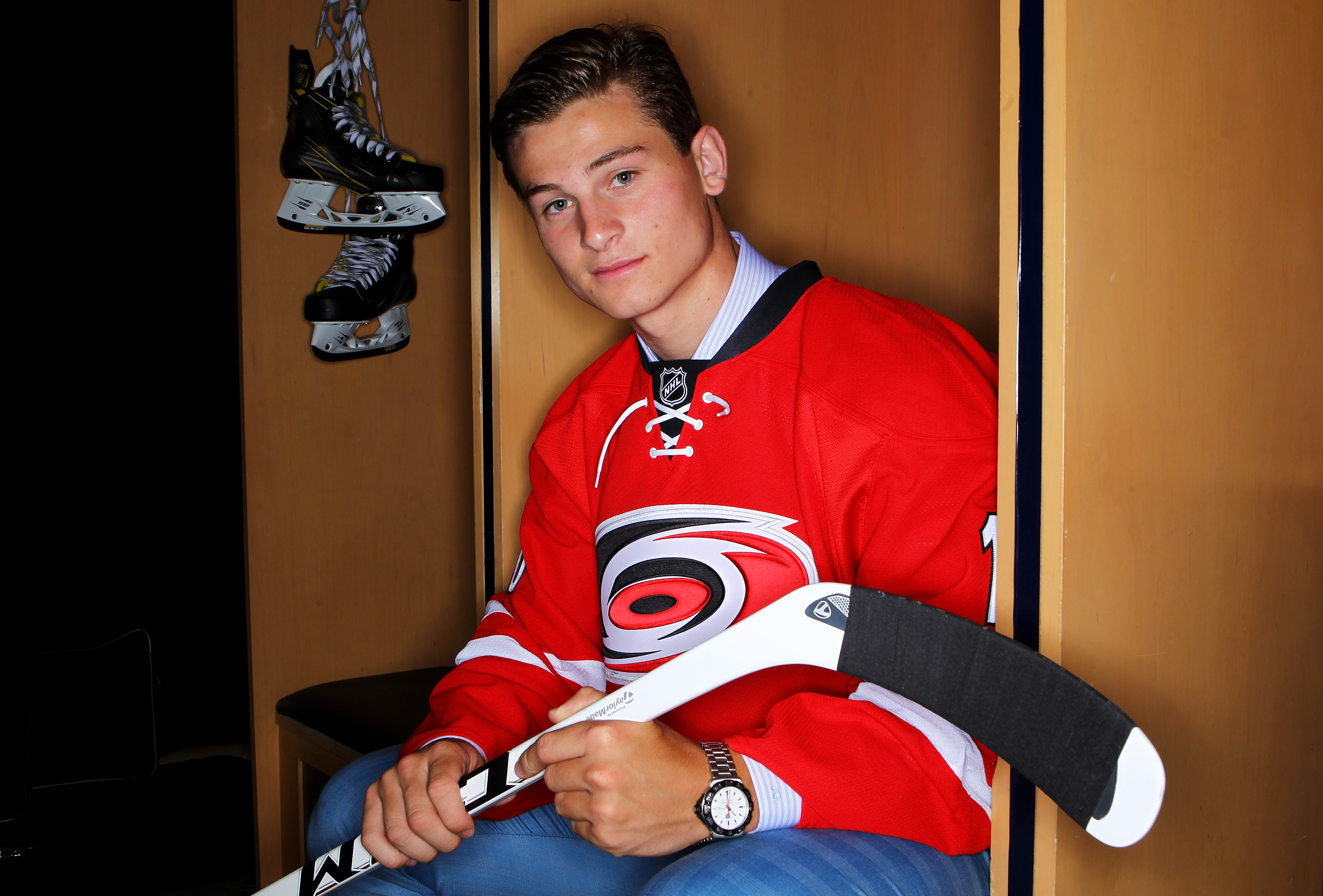 Julien Gauthier poses after being selected at number 21 by the Hurricanes