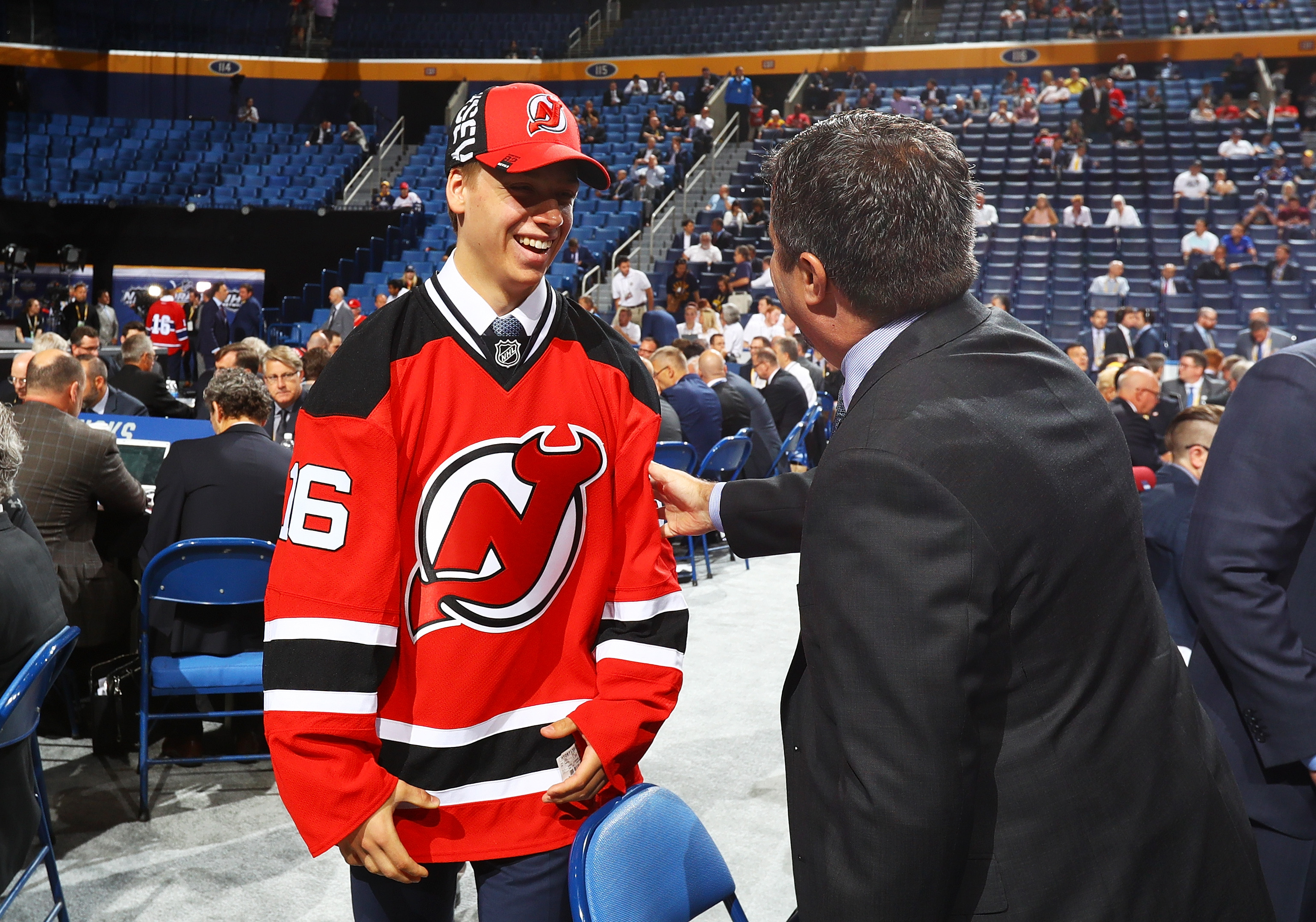Jesper Bratt flashes a big smile after getting picked by the Devils in the sixth round.