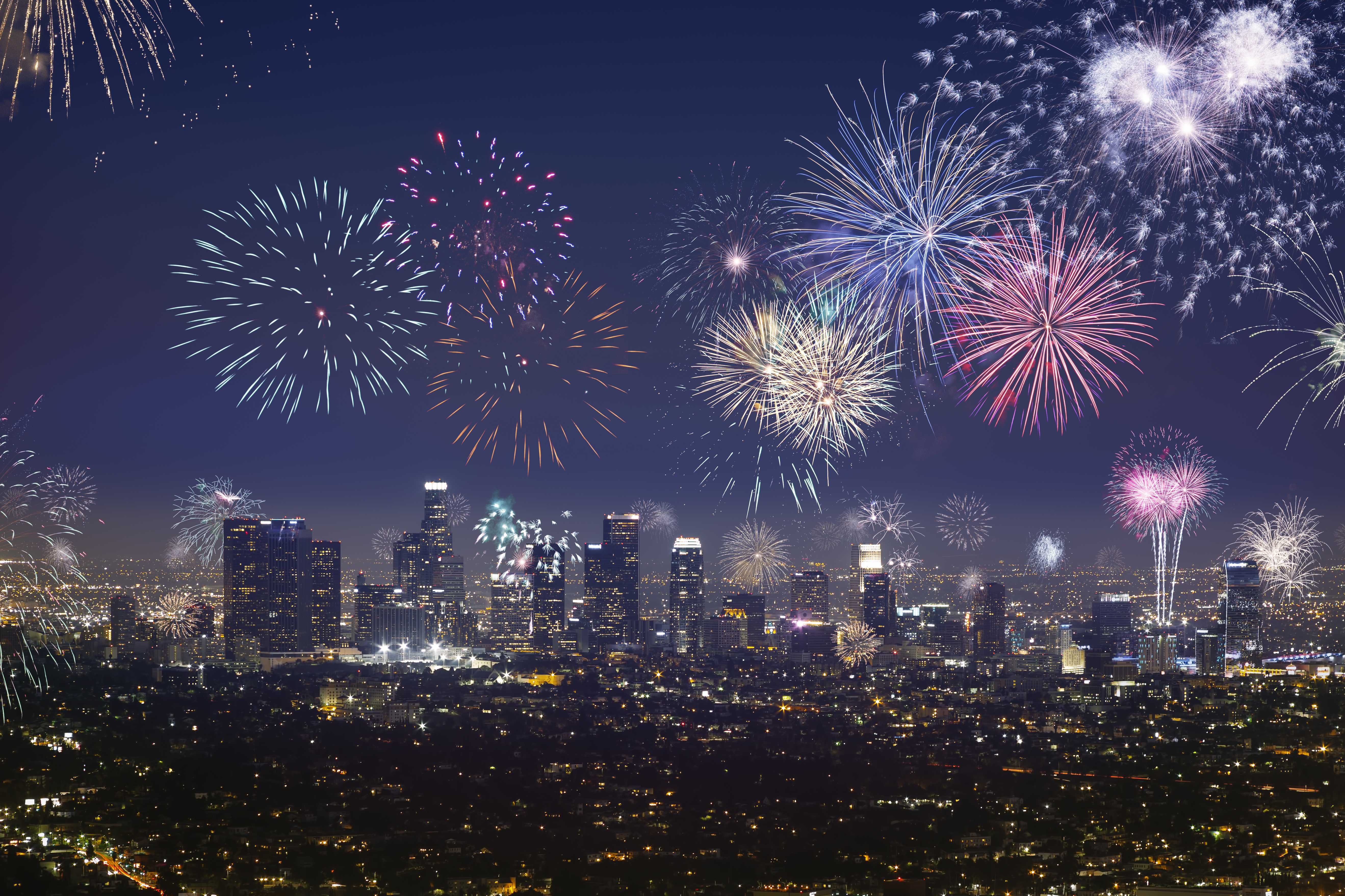 Fireworks light up Downtown LA skyline