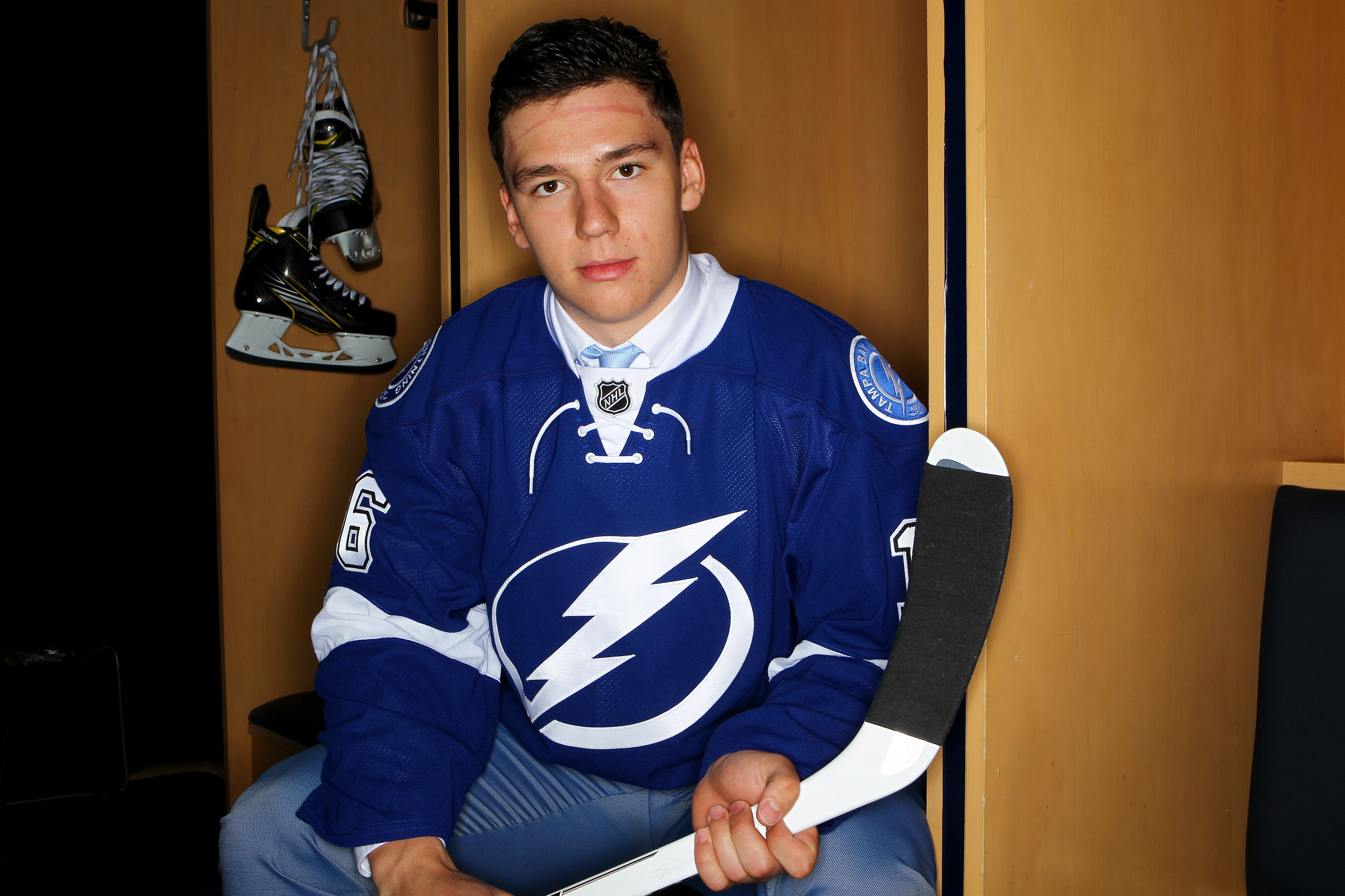 Libor Hajek poses for a portrait after being selected 37th overall by the Tampa Bay Lightning during the 2016 NHL Draft on June 25, 2016 in Buffalo, New York.