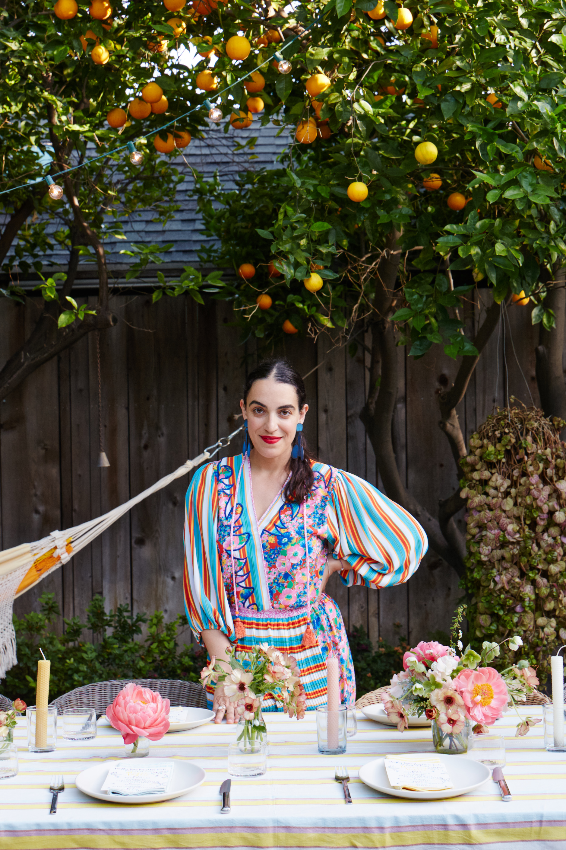LA designer Heather Taylor at an outdoor table setting