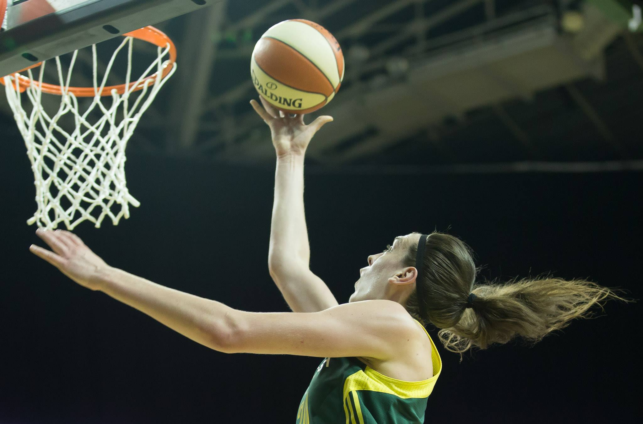Breanna Stewart goes for two of her career high 38 points in a win over Atlanta.