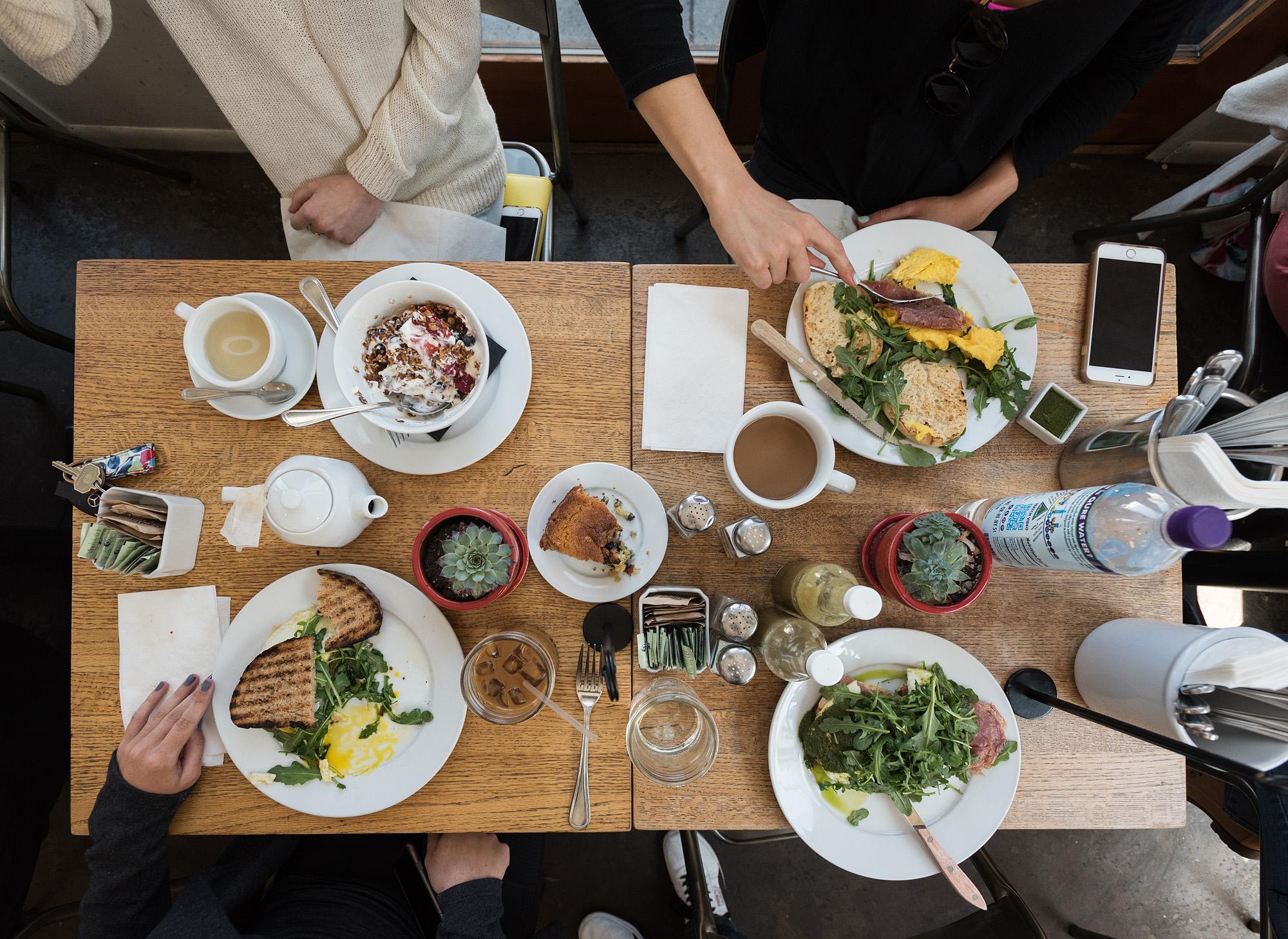 The breakfast spread at Huckleberry, Santa Monica