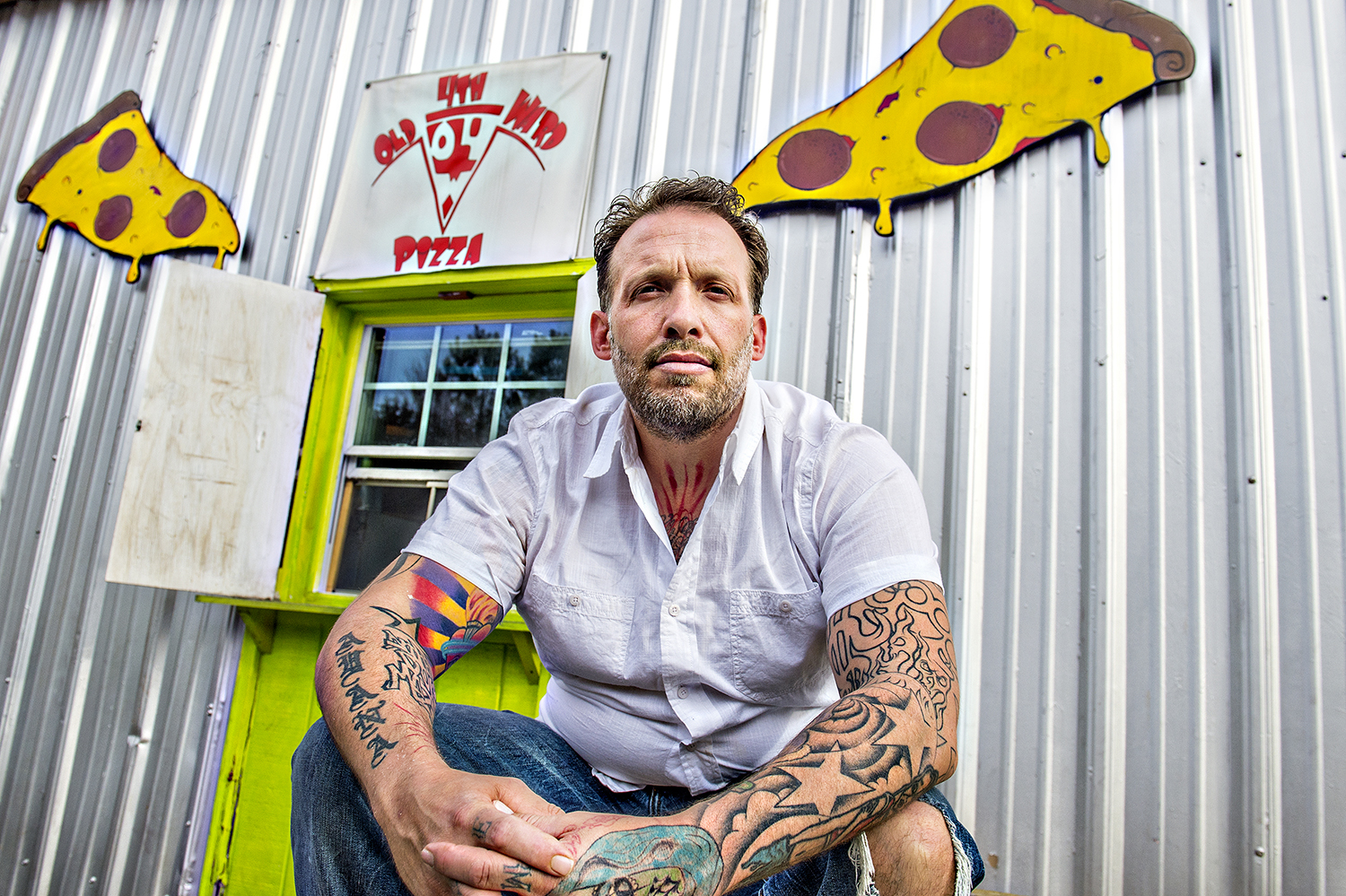 Anthony Spina at O4W Pizza's old Irwin Street Market location.