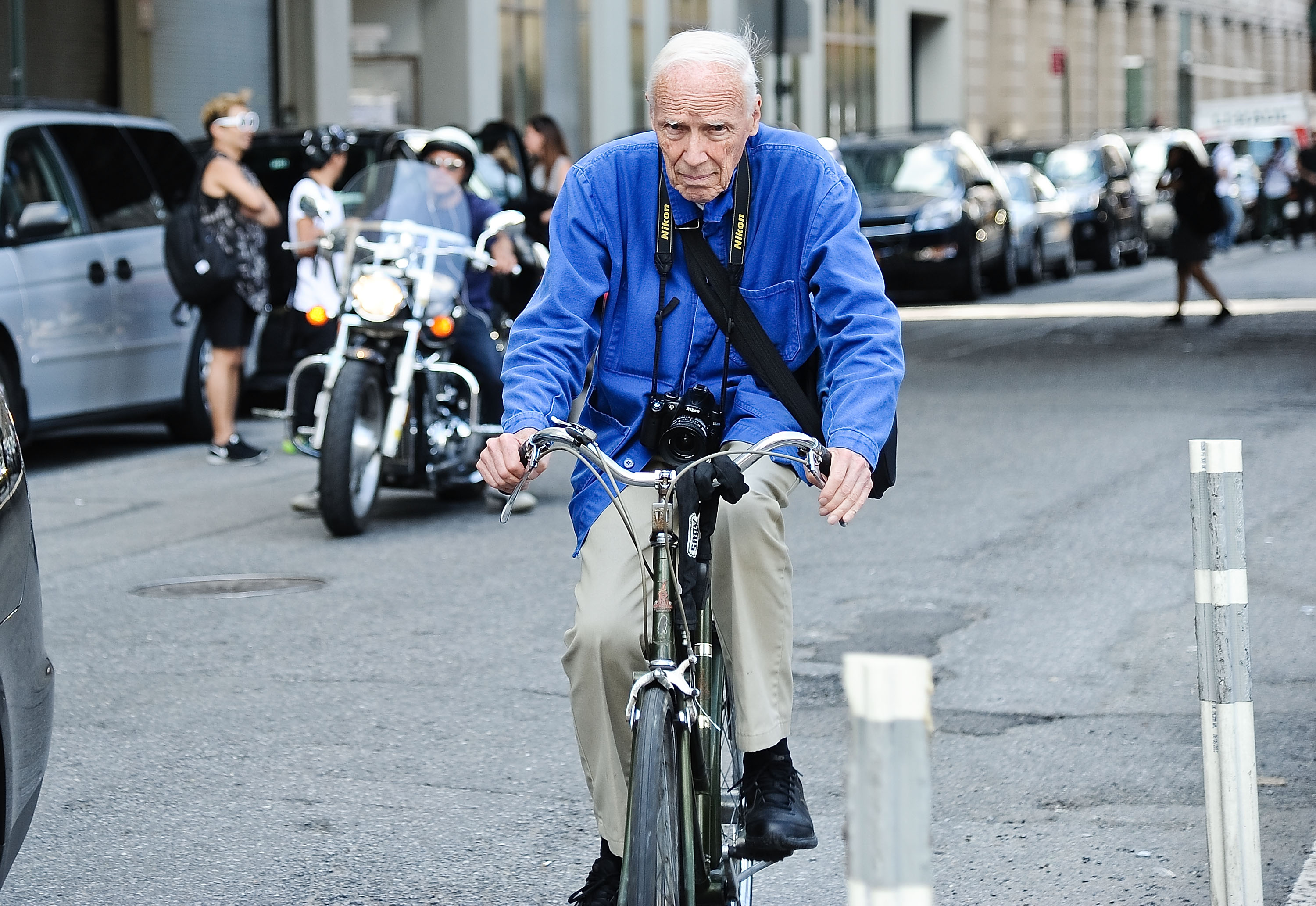 Fashion photographer Bill Cunningham on his bicycle