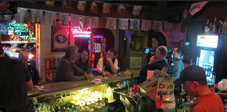 Anthony Bourdain drinking at Mr. Bing's in Chinatown
