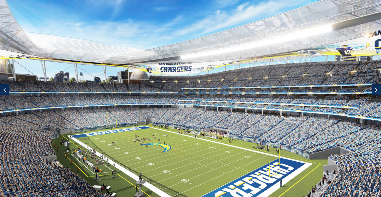 A rendering of the Chargers' proposed downtown stadium