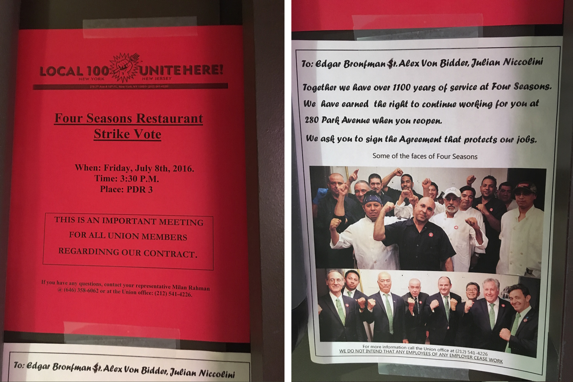 Four Seasons Restaurant strike flyer