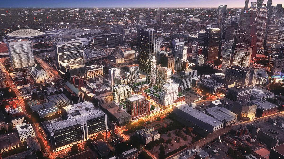 Night rendering of Underground with new high-rise and mid-rise development.