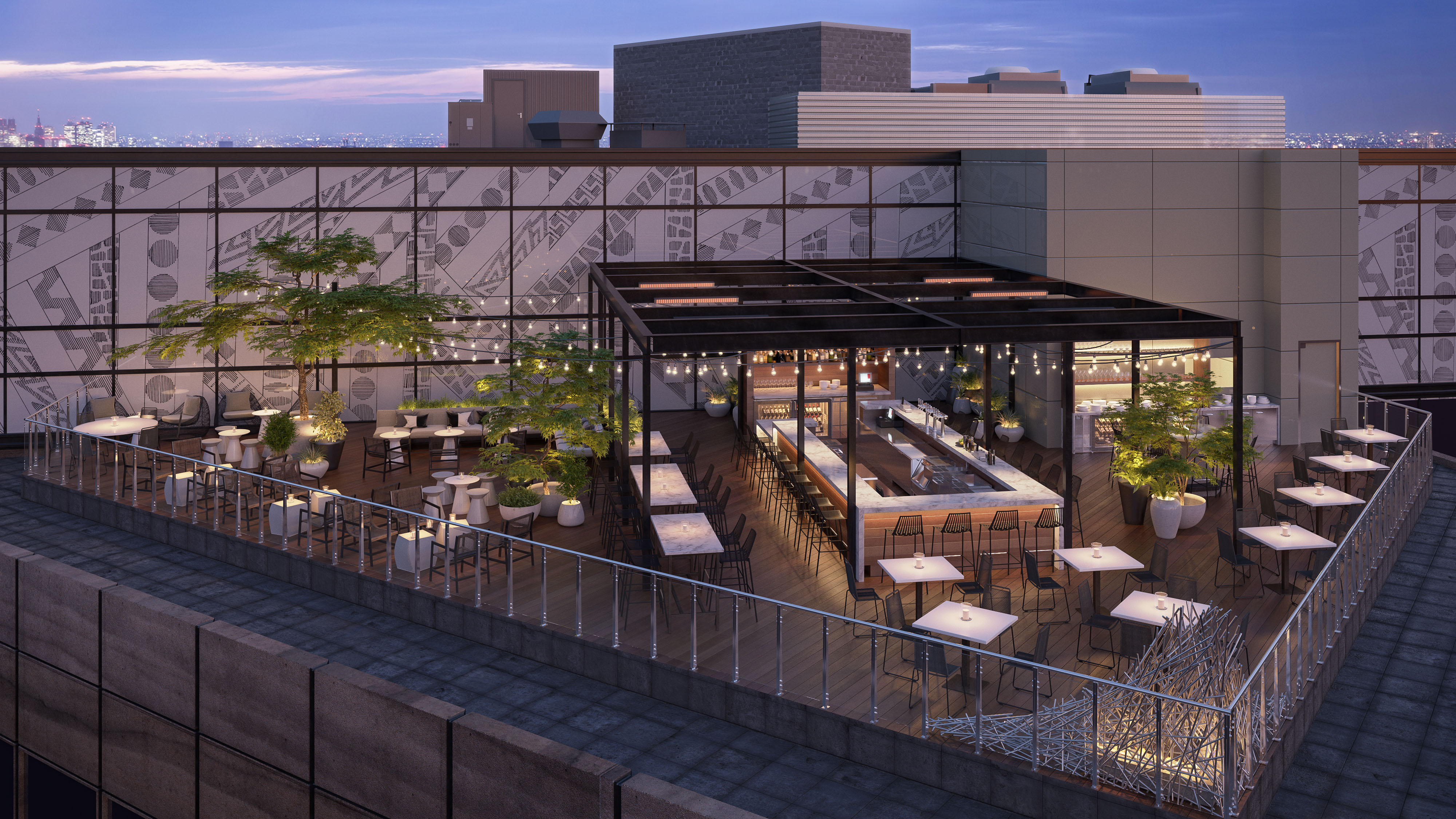 A rendering of Noyane, the Conrad Chicago hotel's new rooftop